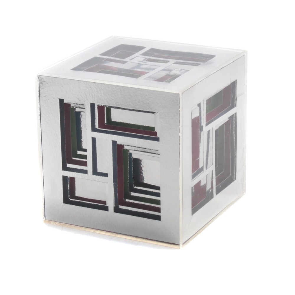 1969 Acrylic Geometric Cube Sculpture