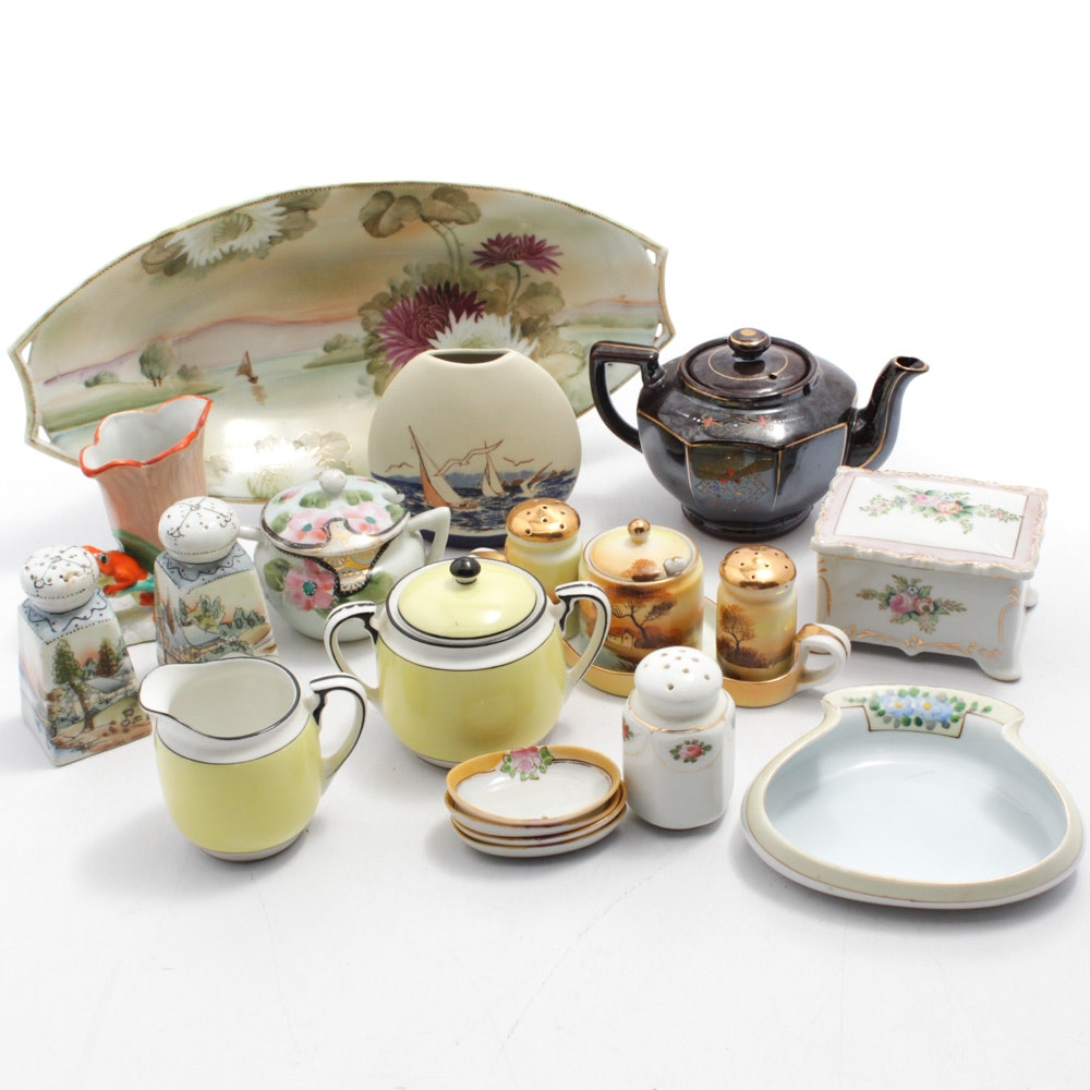 Nippon and Other Hand-Painted Japanese Porcelain Tableware