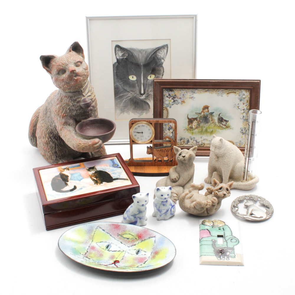 "Quarry Critters ""Carla"" Cat Figurine with Other Cat Themed Decor"