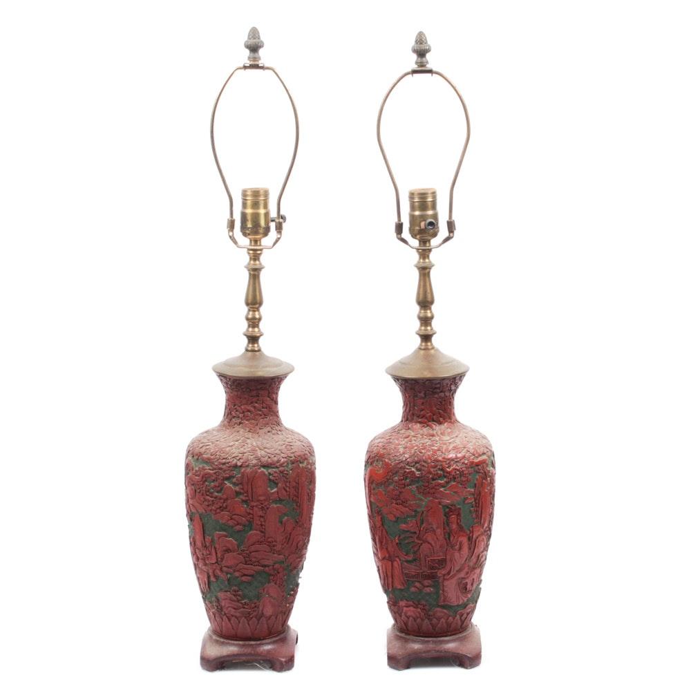 Converted Cinnabar Urn Lamp