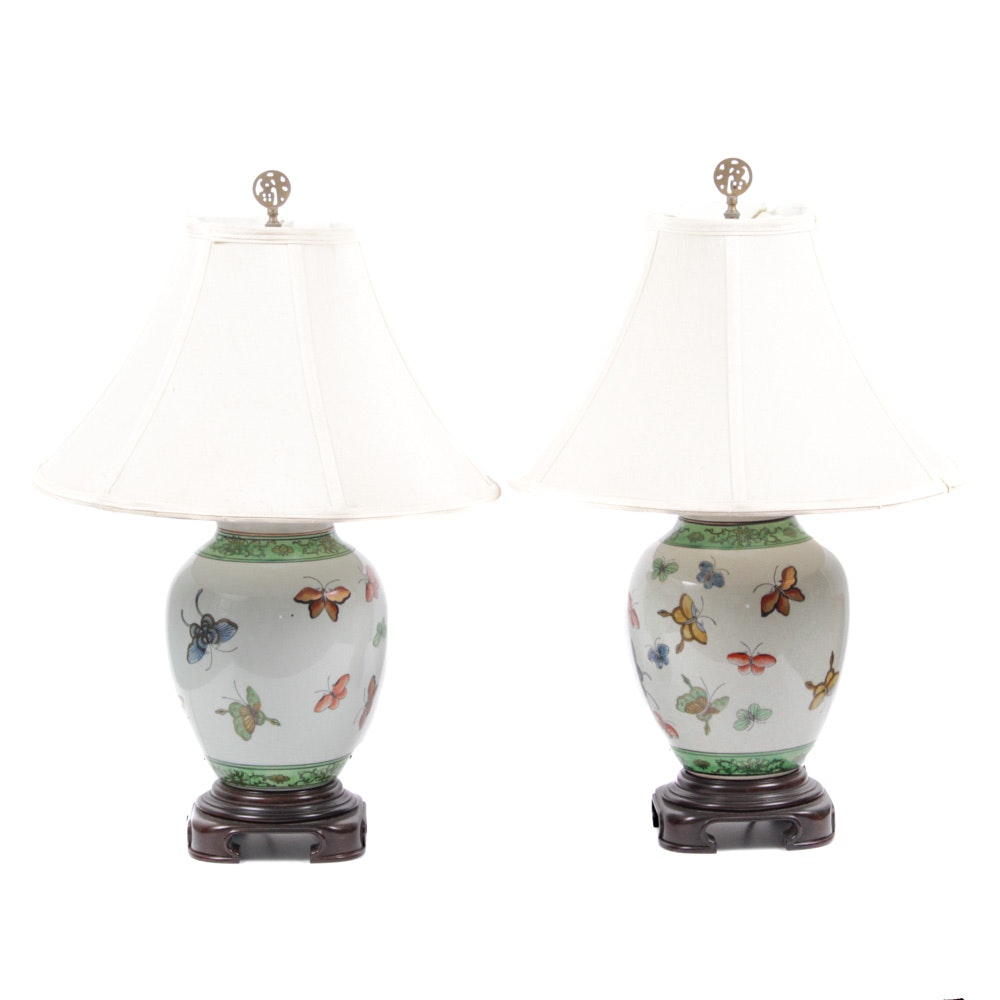 Chinese Butterfly Motif Porcelain Table Lamps
