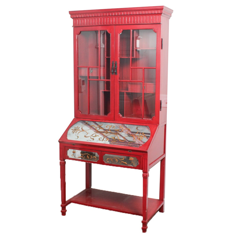 Red Painted Secretary Hutch