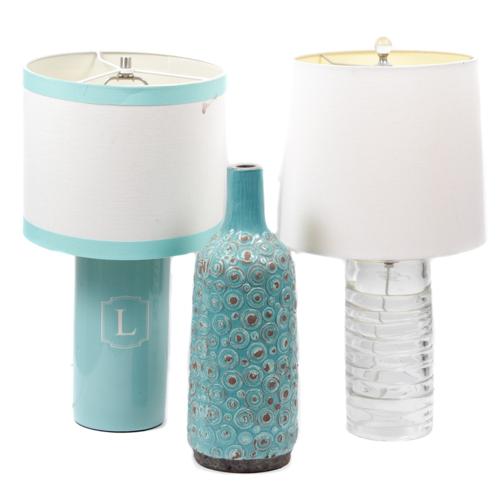 Table Lamps and Decorative Vase