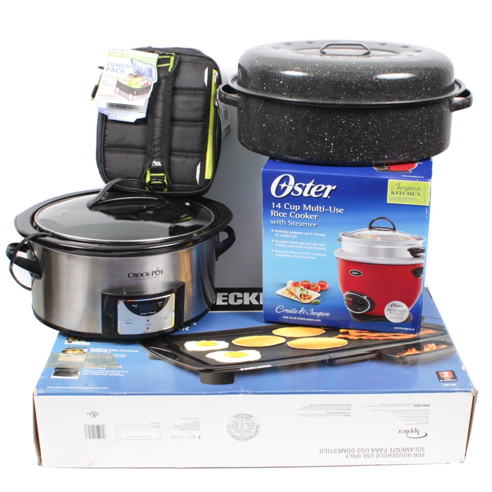 Kitchen Appliances Including Black & Decker, Oster and Enamel Roasting Pan