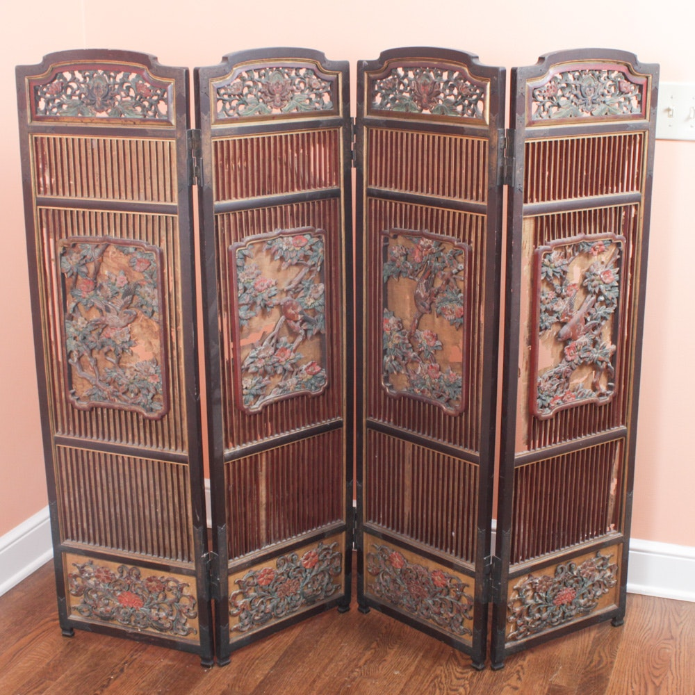Chinese Hand-Carved Wood Paneled Decorative Screen, Early 20th Century