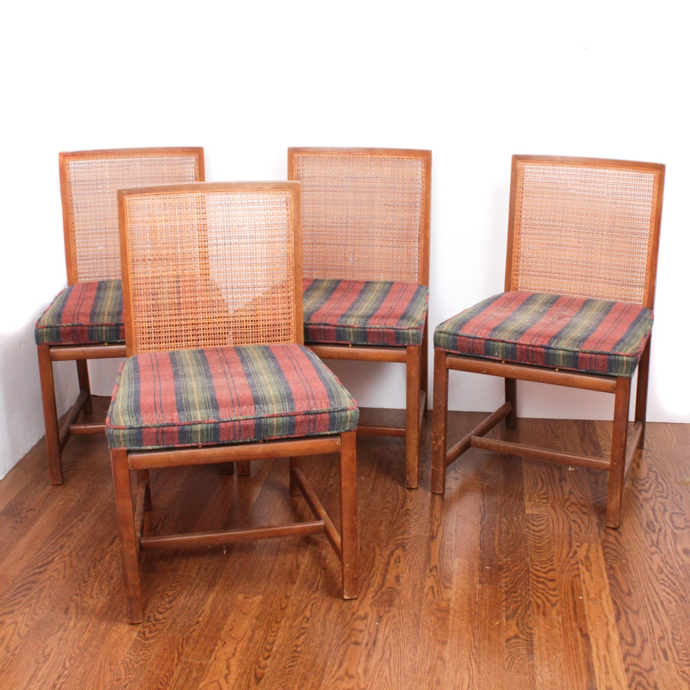 Michael Taylor for Baker Furniture Rattan Back Chairs, Mid-Century