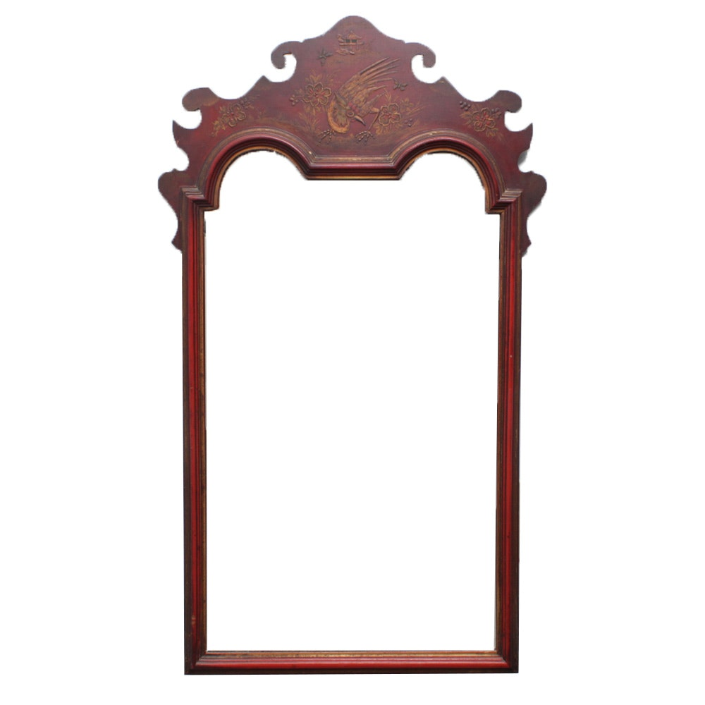 Red Lacquered Chinoiserie Wall Mirror, Mid-Century