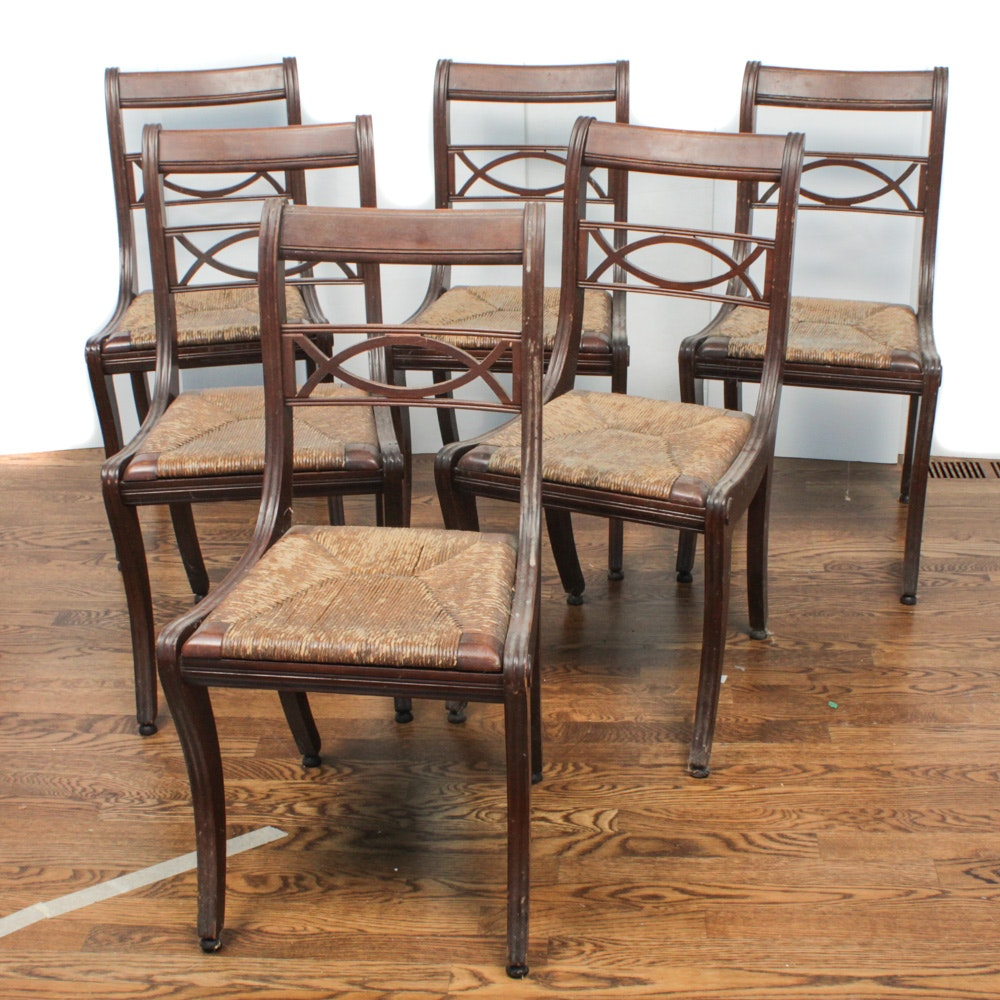 Six Sleigh Back Caned Seat Dining Chairs, Early 20th Century