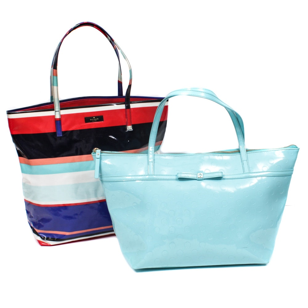 Two Kate Spade New York Vinyl Tote Bags