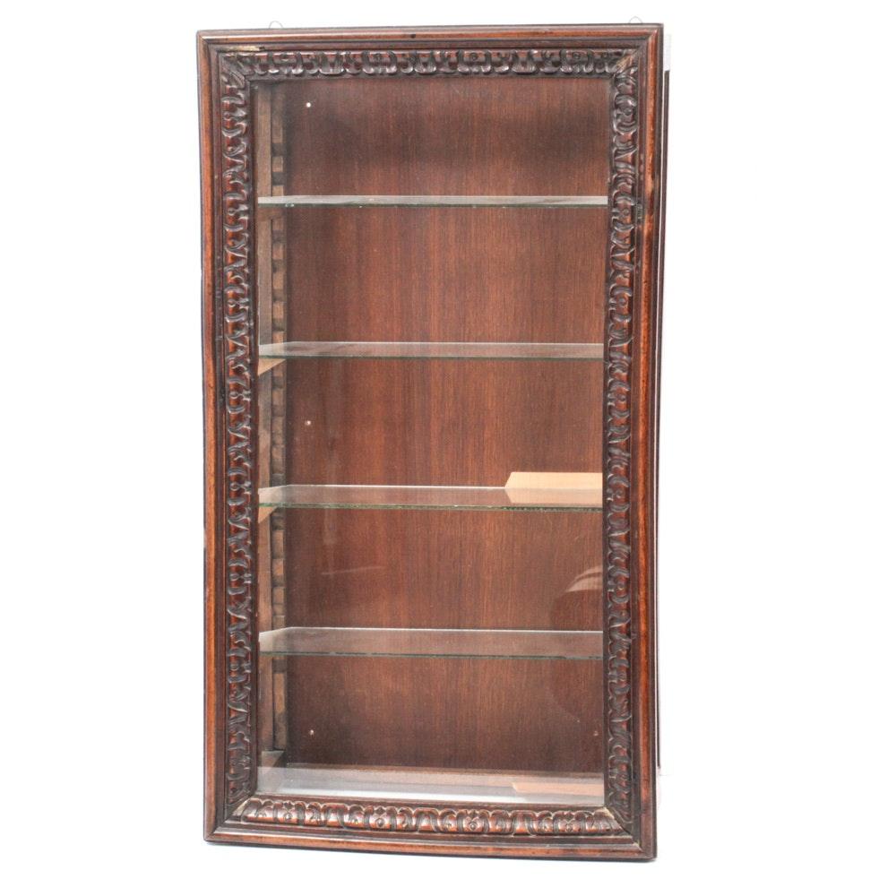 Carved Wood Framed Glass Wall Hanging Display Case, Vintage