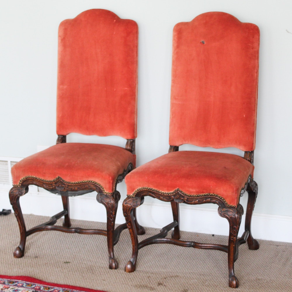 Carved Wood Velvet Covered High Back Side Chairs, Late 19th/ Early 20th Century