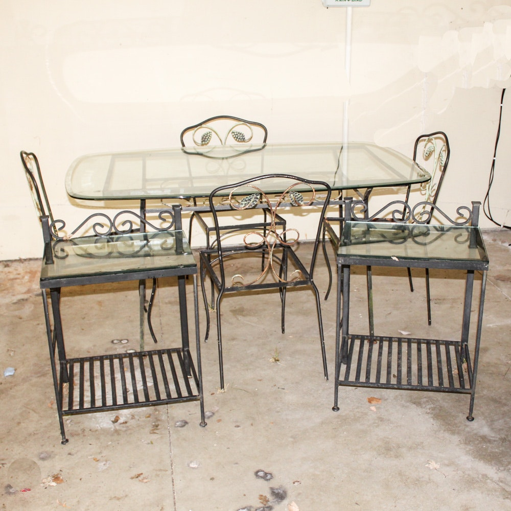 Glass Top Patio Table, Side Tables and Chairs