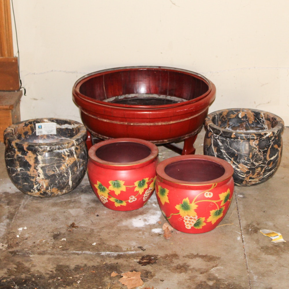 Marble Planters, Large Wood Planter and More