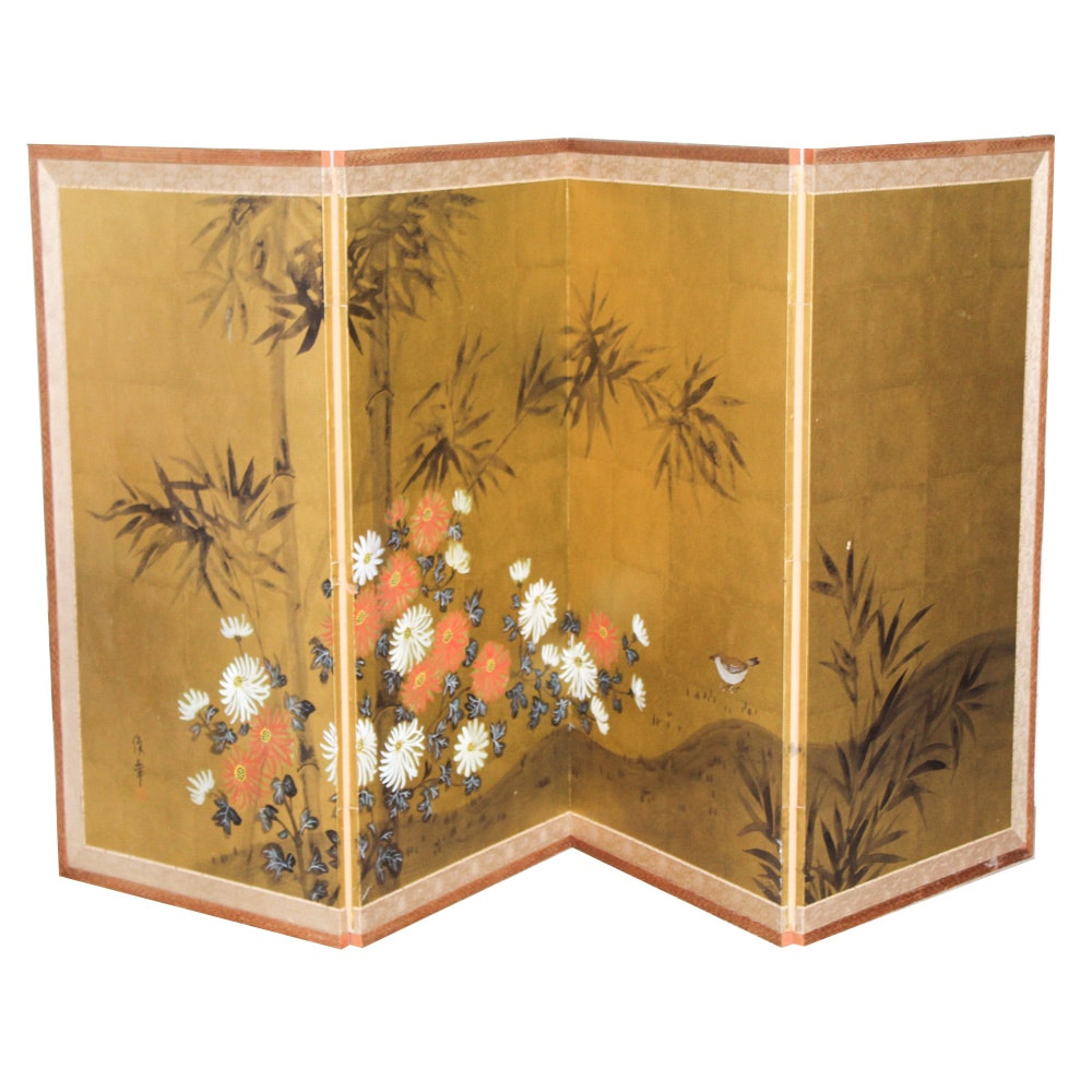 Japanese Gouache on Gold Paper Folding Screen with Chrysanthemum and Bamboo