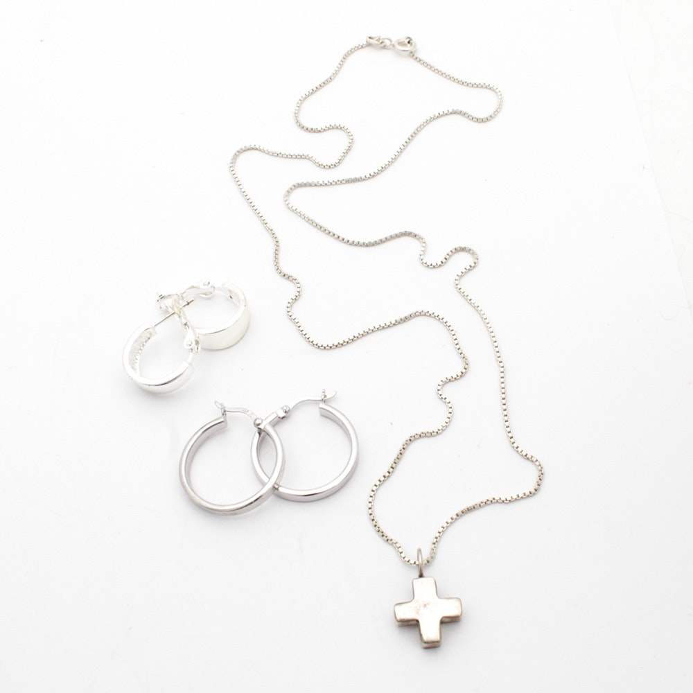 Two Pairs of Sterling Silver Hoop Earrings and Cross Pendant Necklace