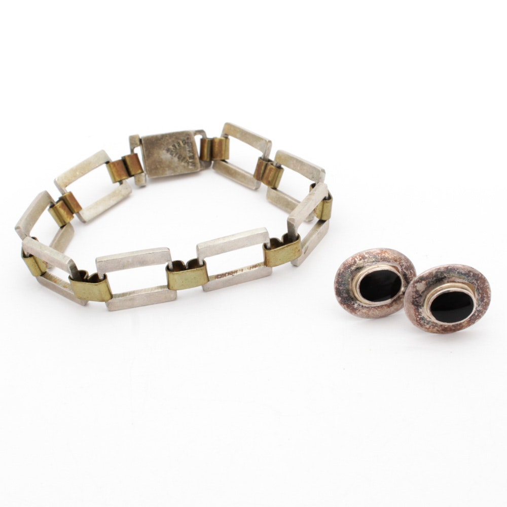 Alicia Sterling Silver Link Bracelet and Onyx Earrings