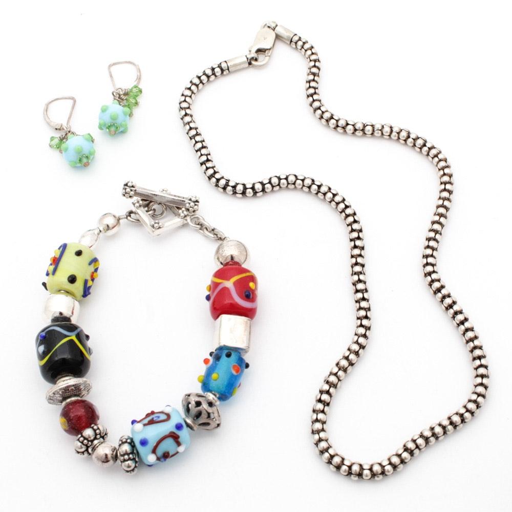 Silpada Sterling Silver Necklace and Bracelet, Unmarked Earrings