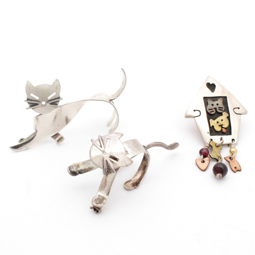 Sterling Silver Cat Motif Brooches Including Far Fetched