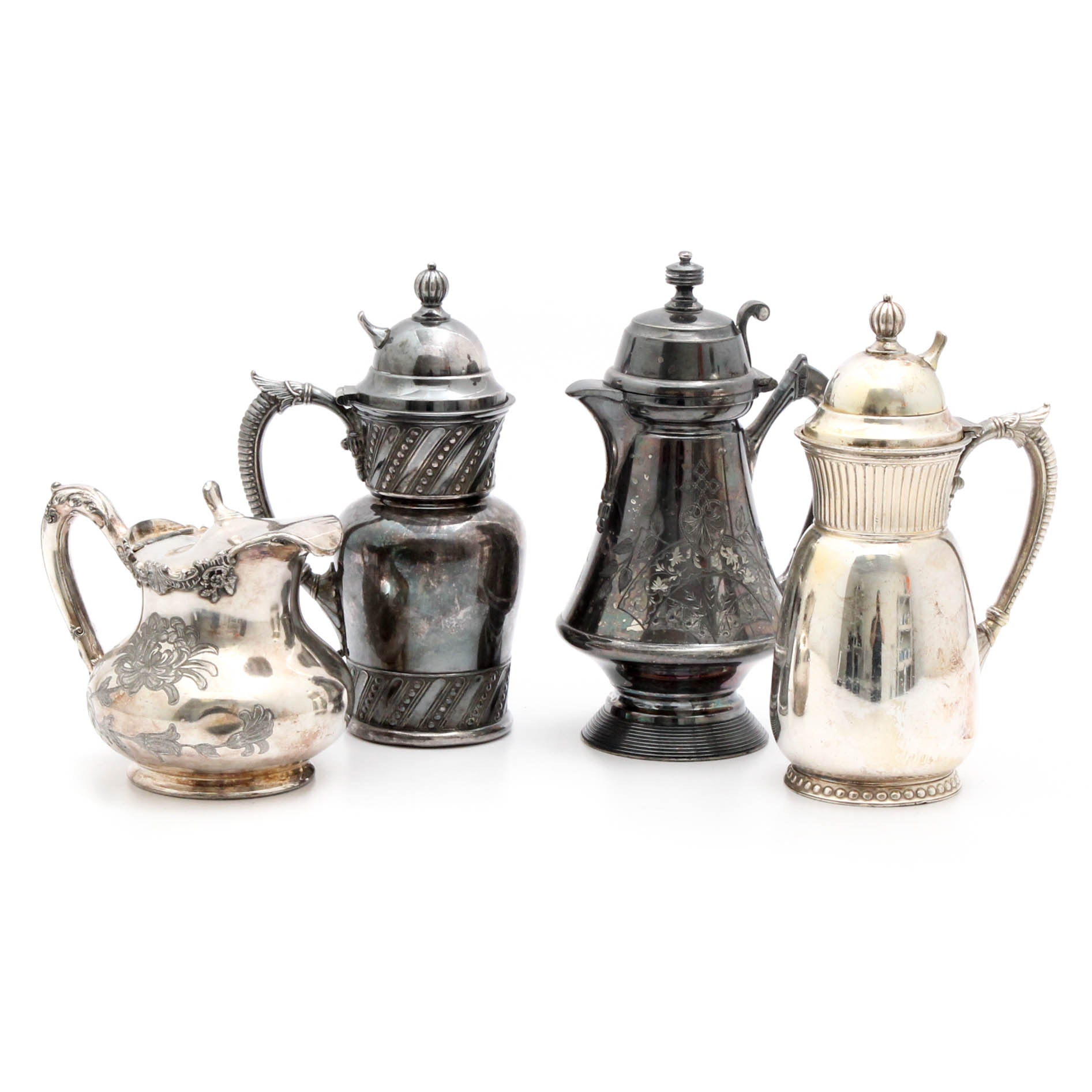 Four Victorian Era Silverplate Syrups