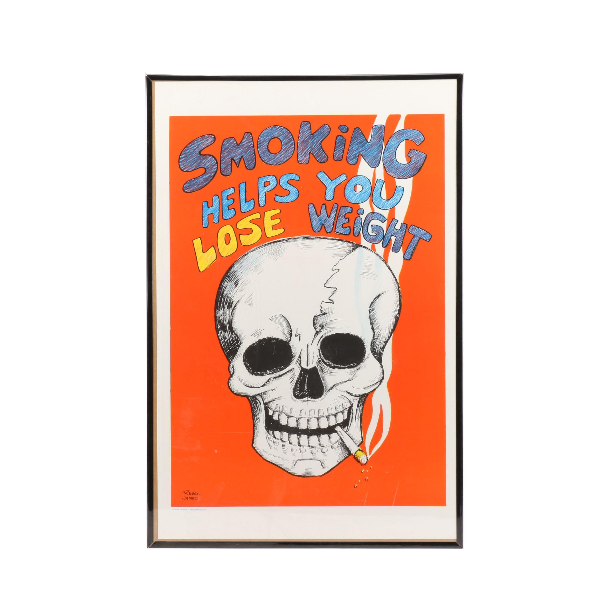"Reese James ""Smoking Helps You Lose Weight"" Framed Poster, Vagabond Creations"