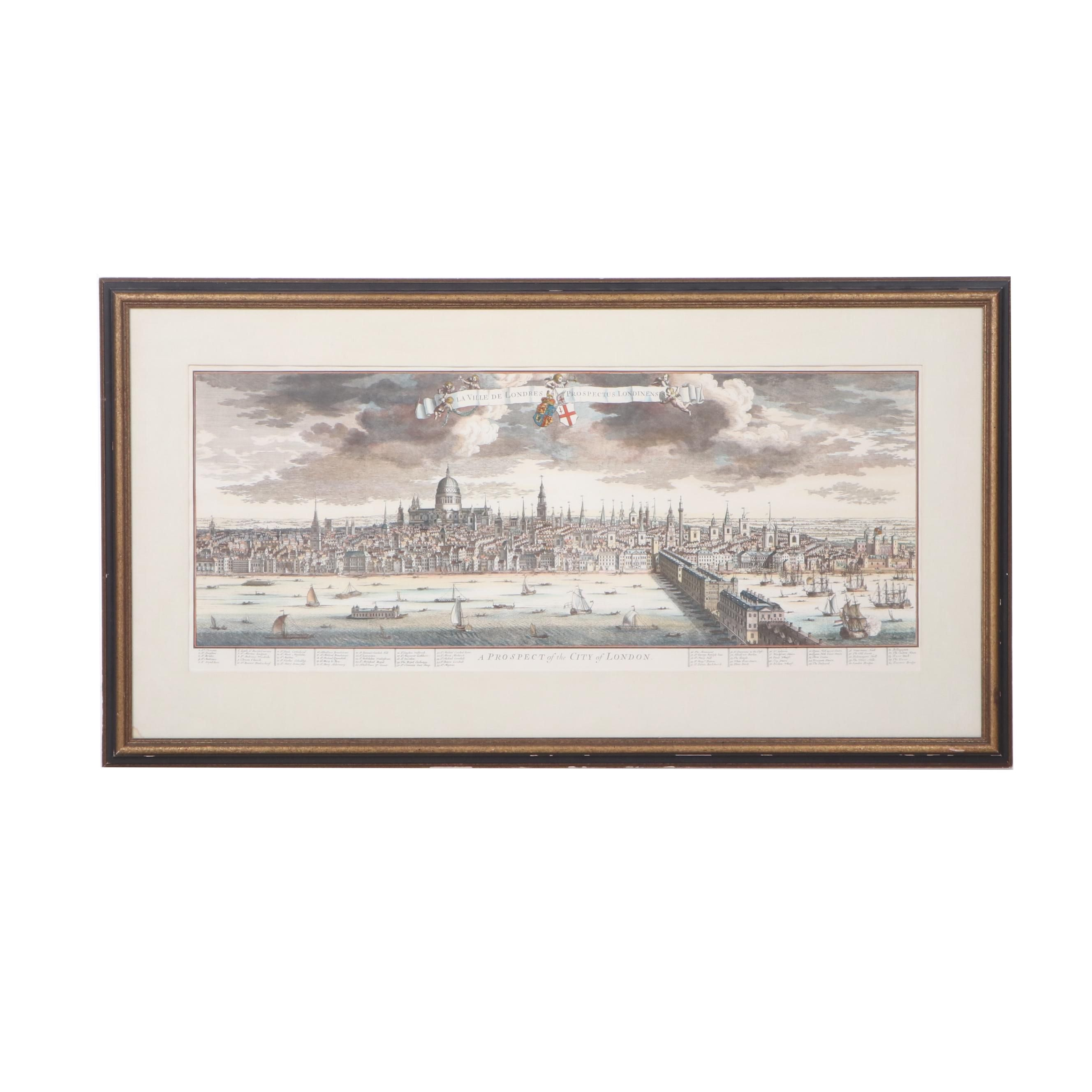 Hand-Colored Engraving of London after Johannes Kip