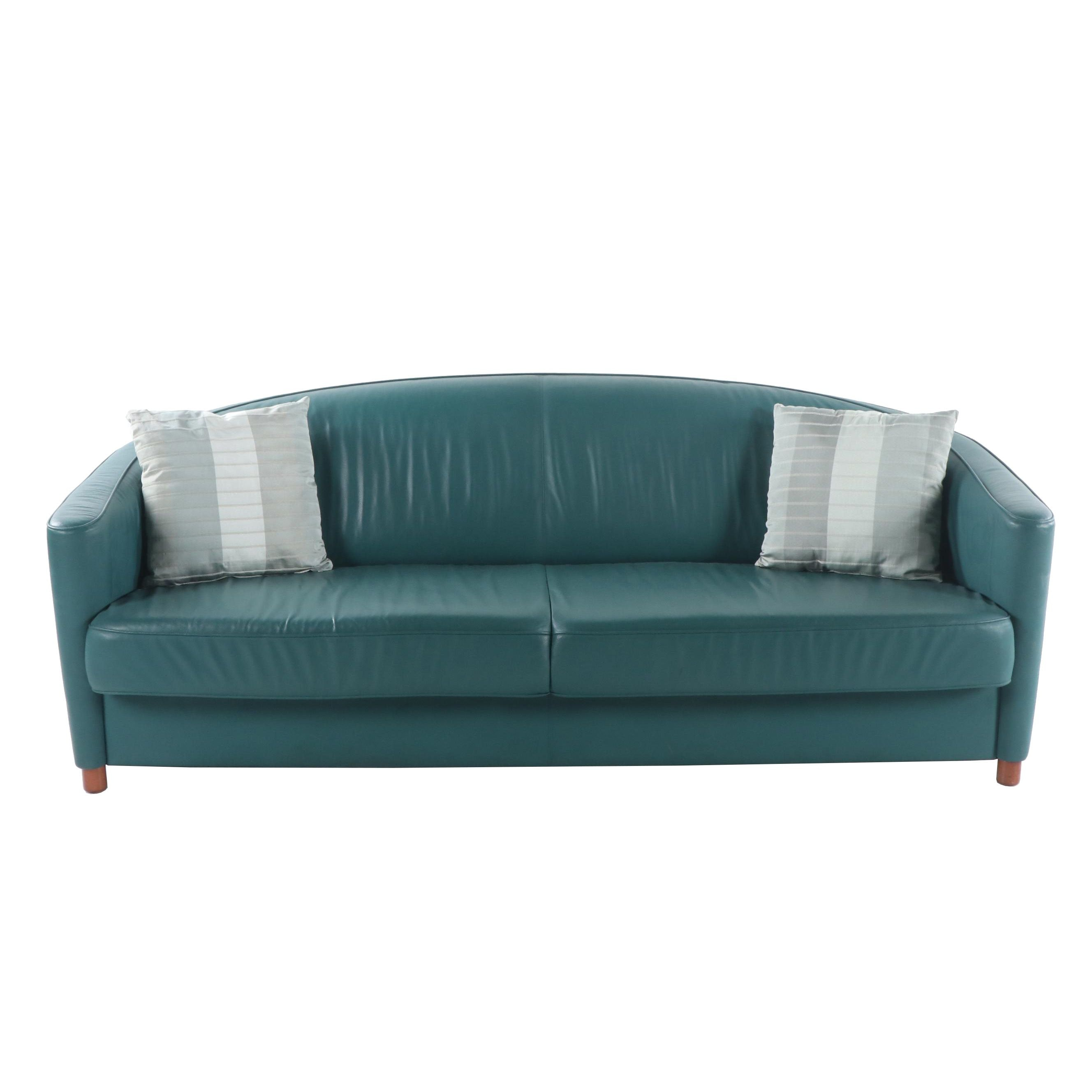 Faux Leather Sofa with Soft Impressions Throw Pillows, 21st Century