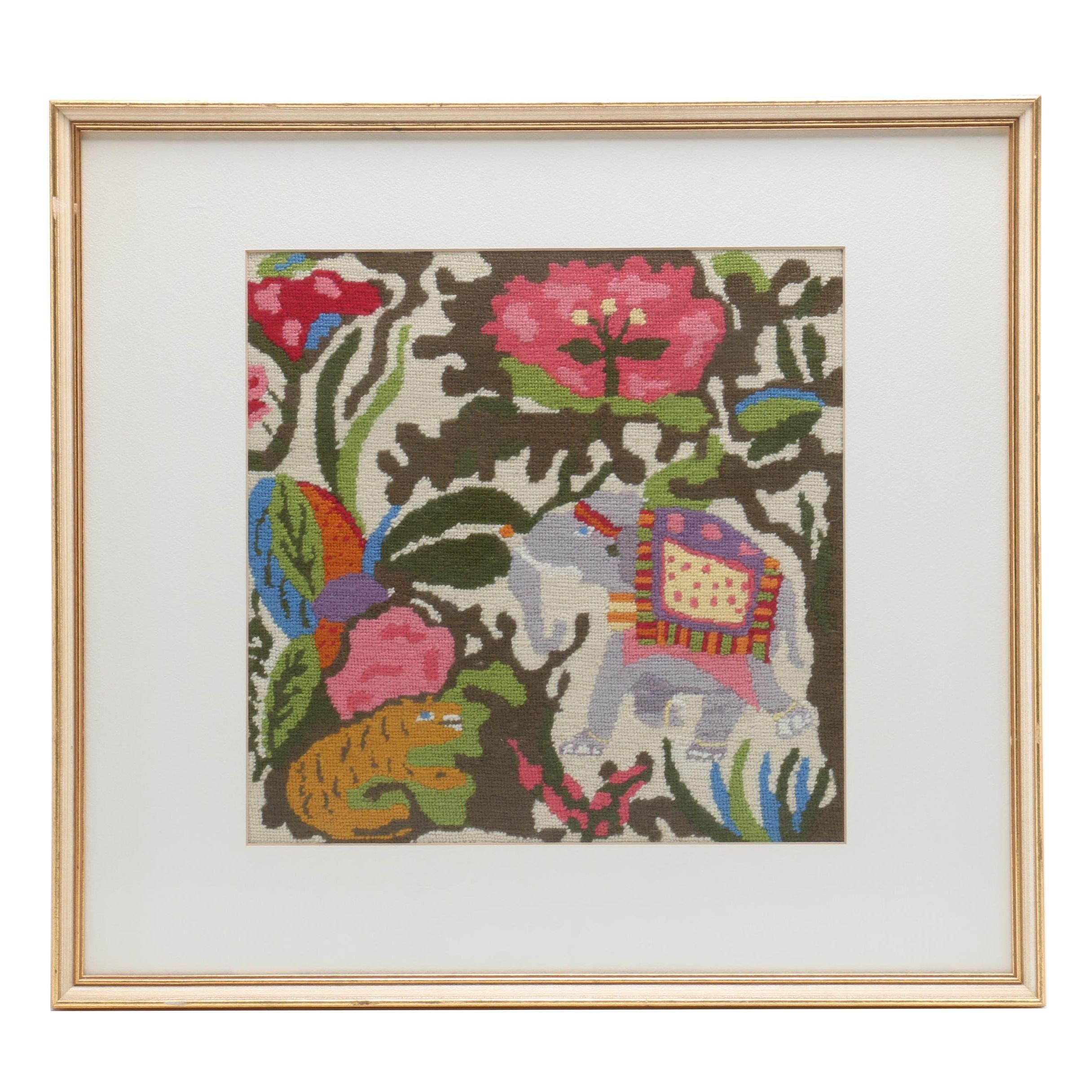 Framed Needlepoint Panel of Elephant and Tiger in Colorful Garden