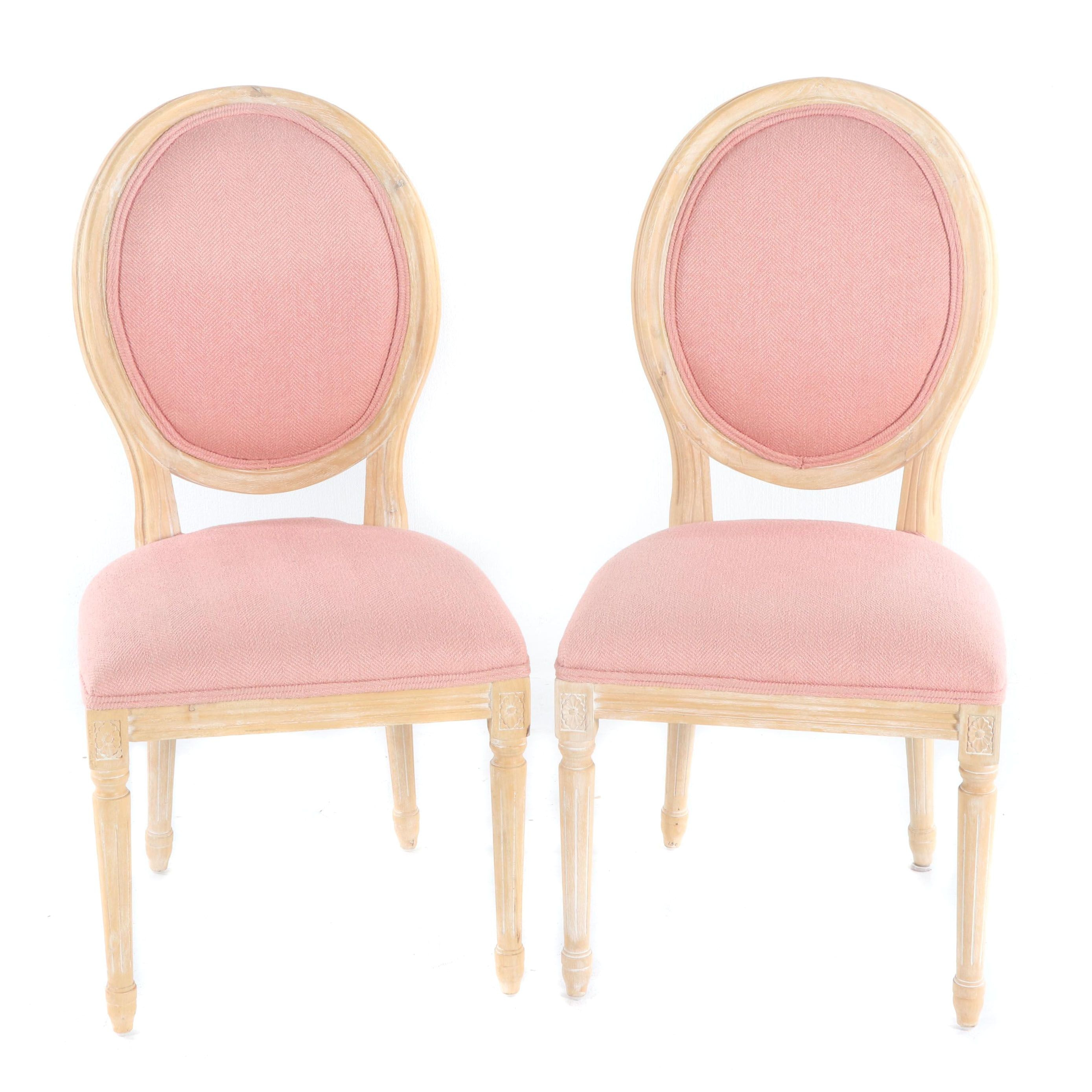 Louis XVI Style Upholstered Oval Back Side Chairs by Permaisuri, 21st Century