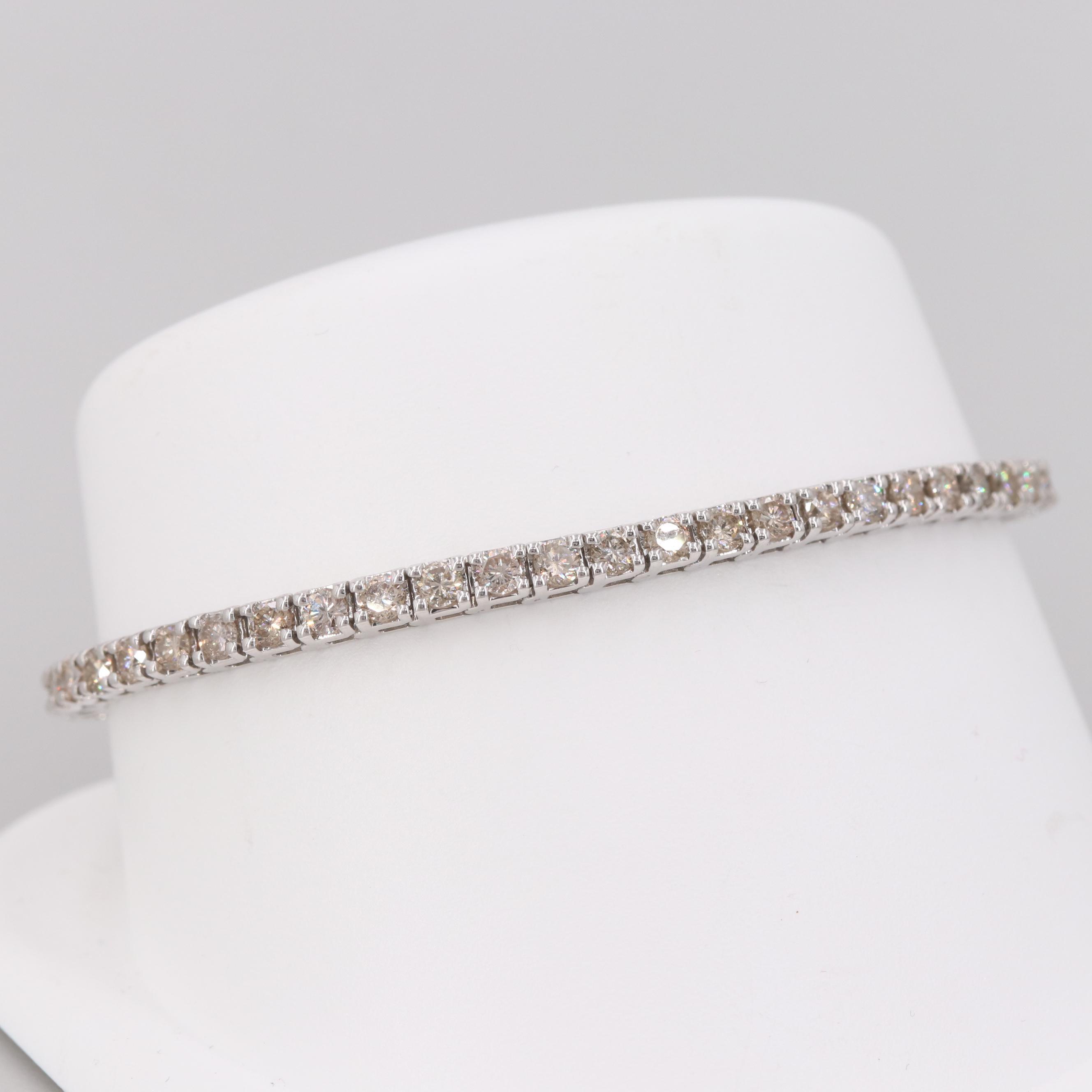 14K White Gold 3.66 CTW Diamond Bracelet