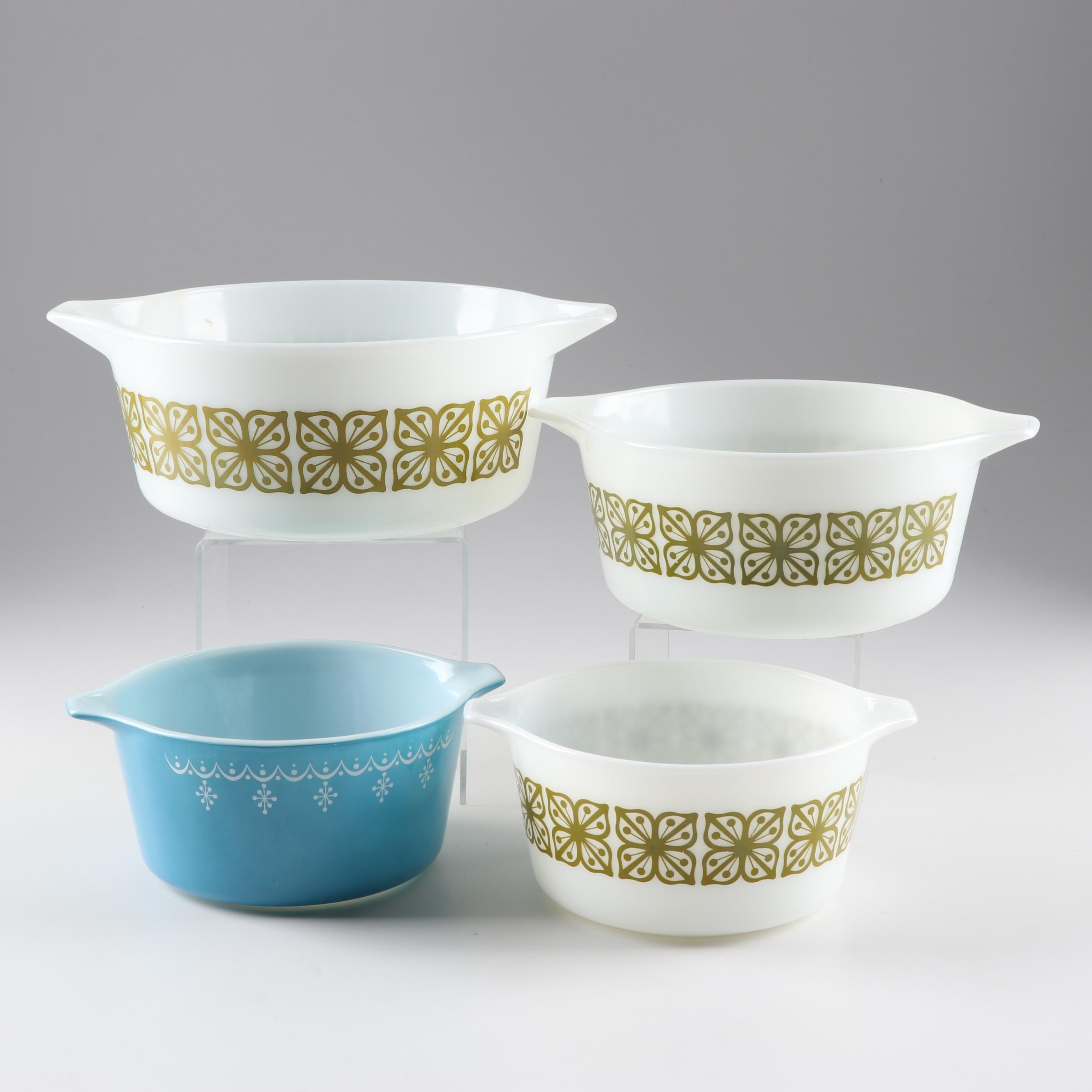 "Pyrex ""Square Flowers"" and ""Snowflake"" Bowls, Mid-20th Century"