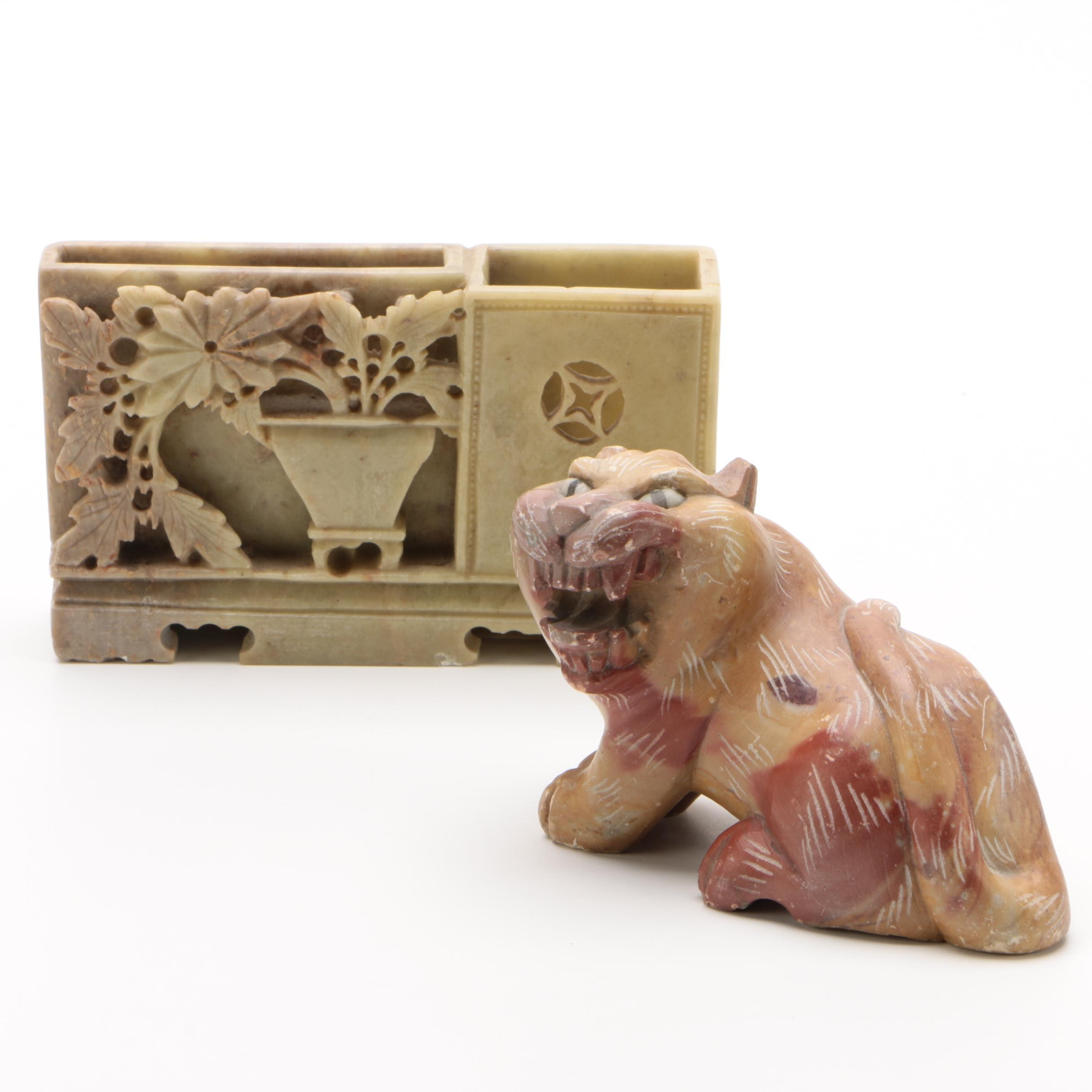 Chinese Carved Soapstone Inkwell and Lion Figurine, 20th Century
