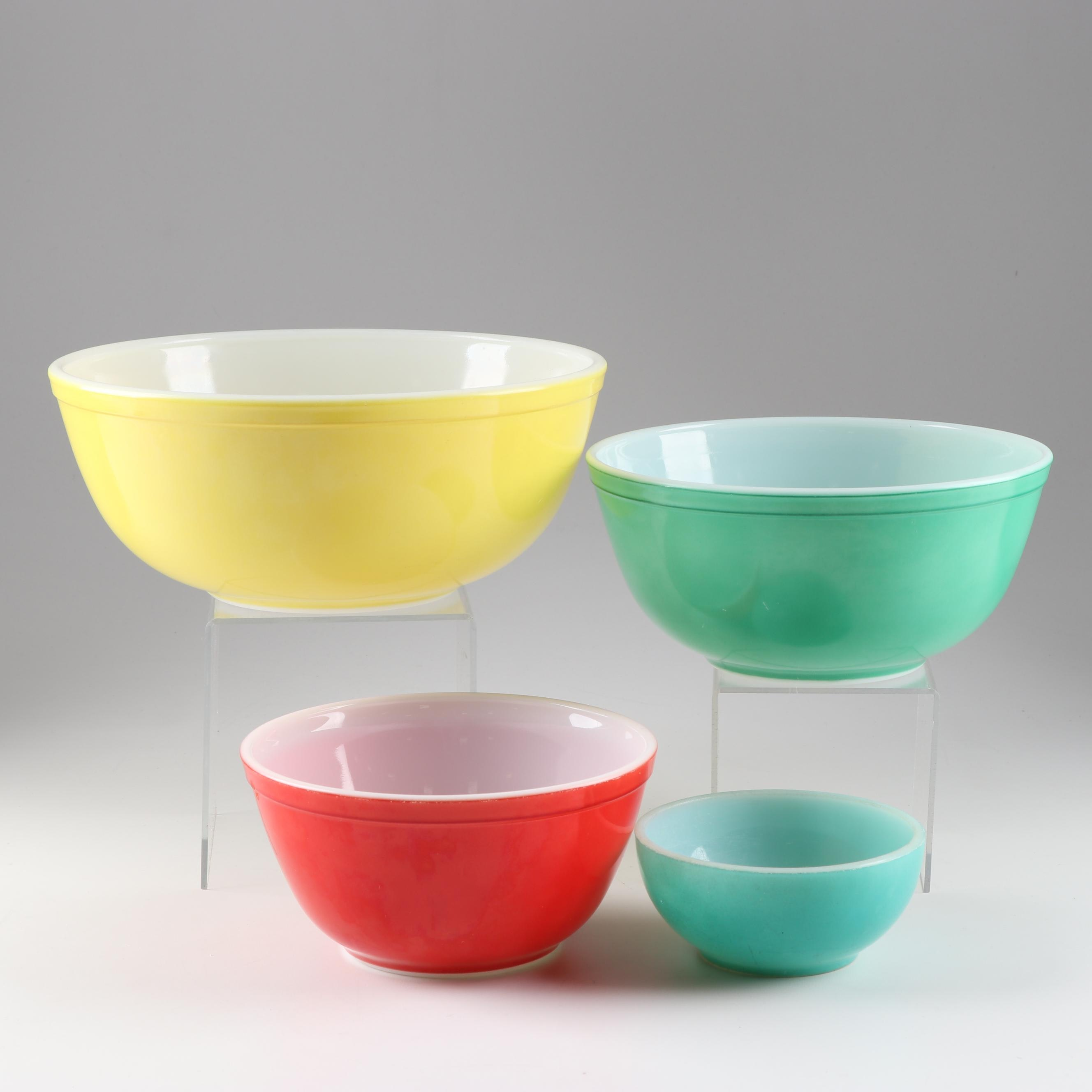 "Pyrex ""Primary Colors"" Glass Mixing Bowls, Mid/Late 20th Century"