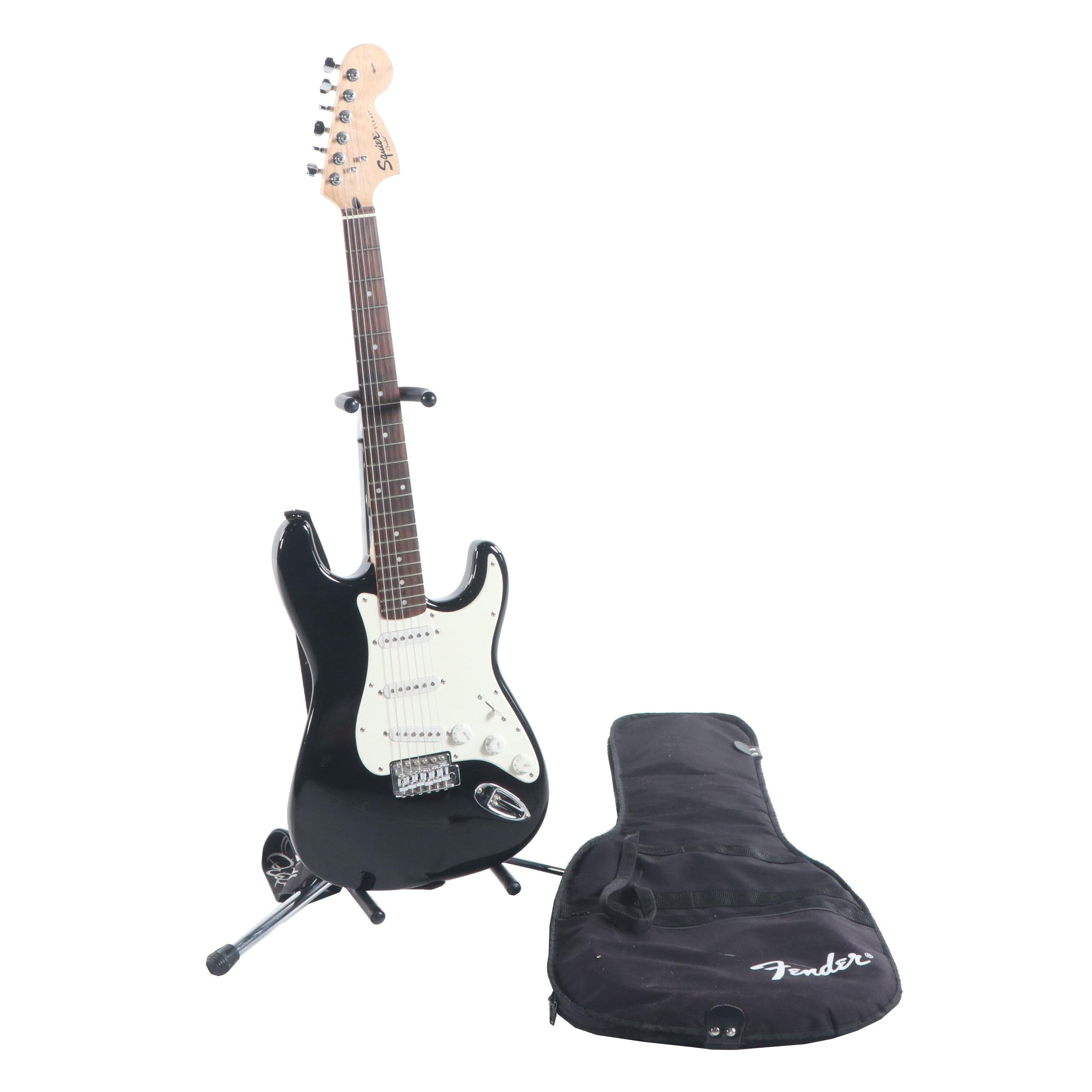 Fender Squier Strat Electric Guitar with Case and Stand