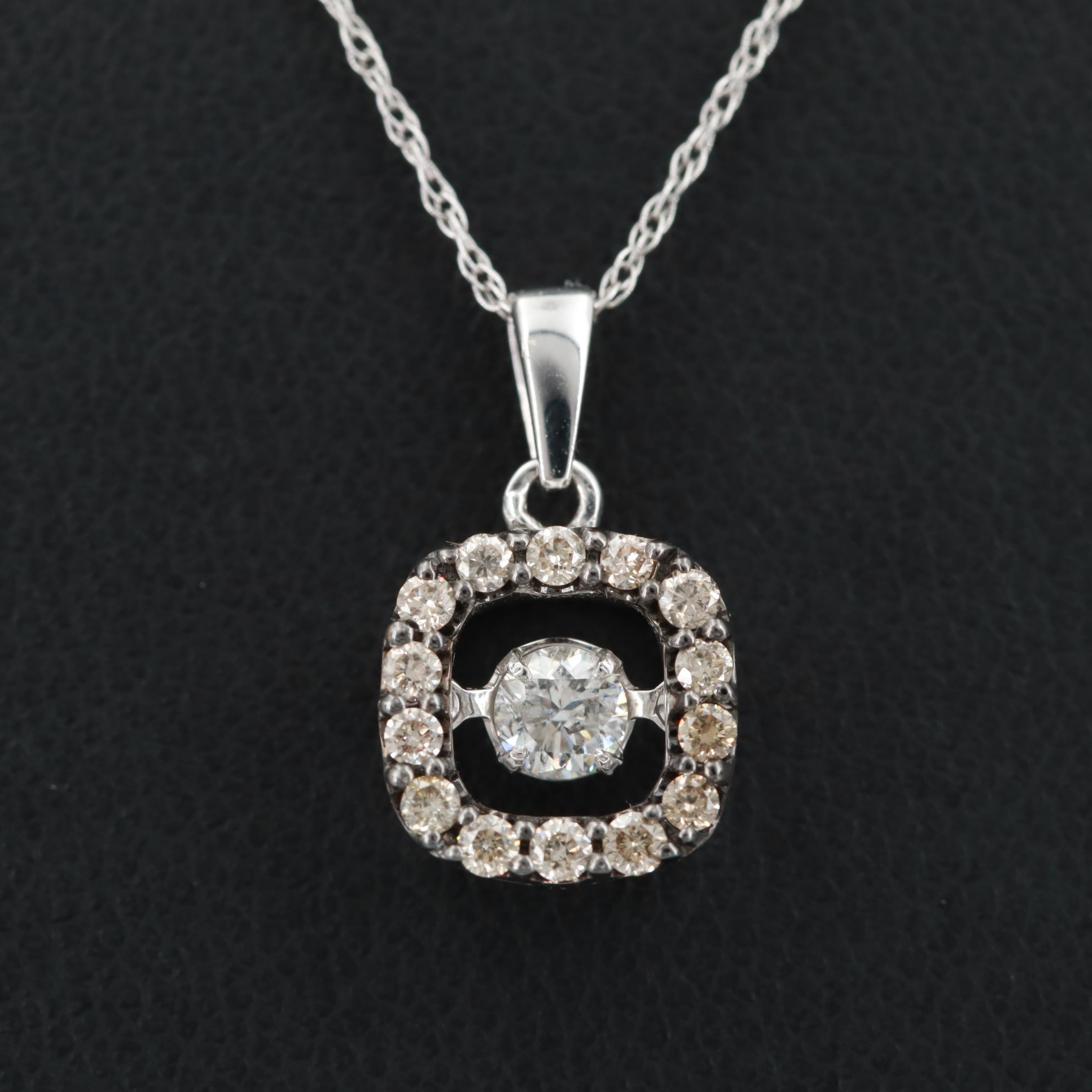 10K White Gold Diamond Trembler Pendant Necklace