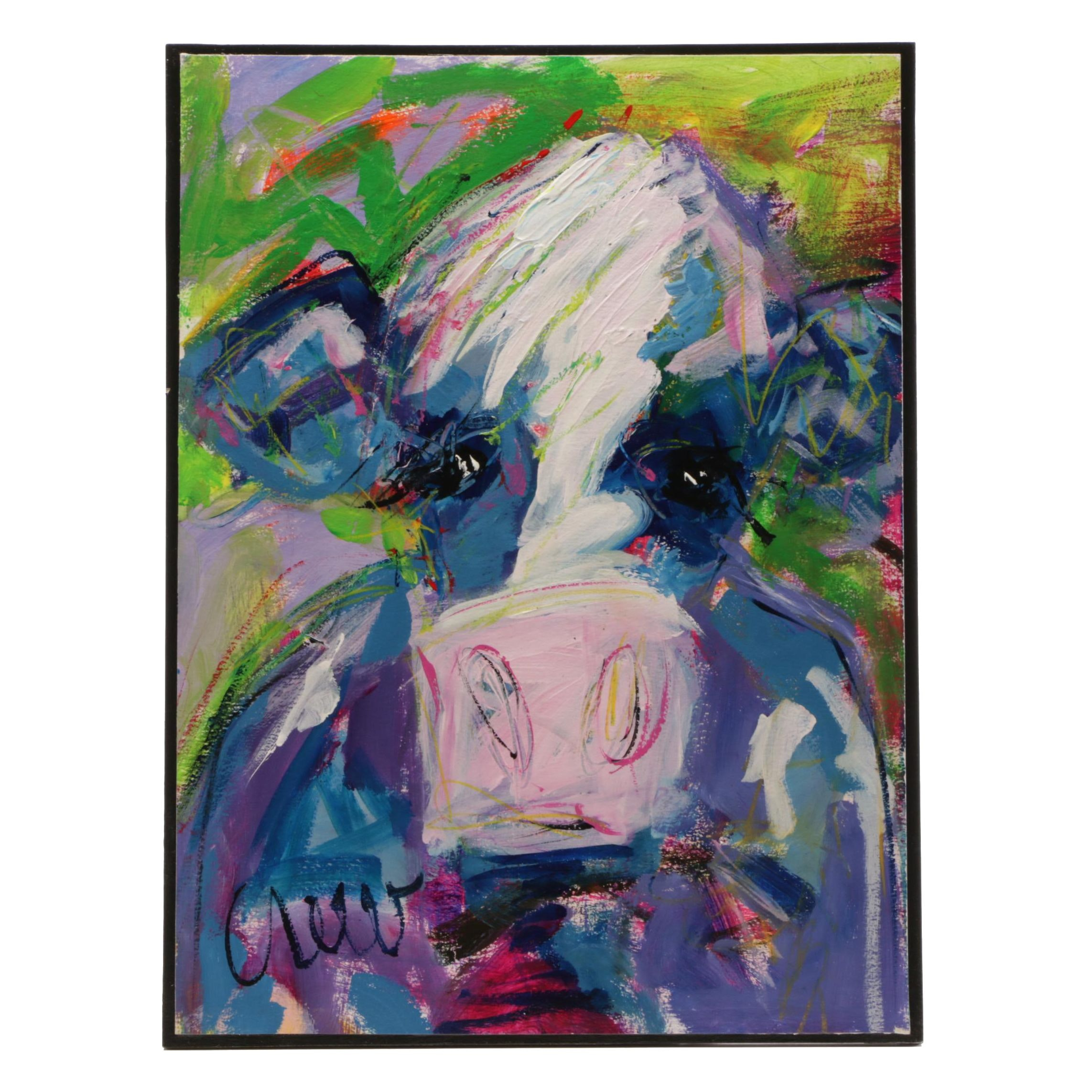 """Susan Crew 2018 Acrylic Painting """"Forest Cows"""""""