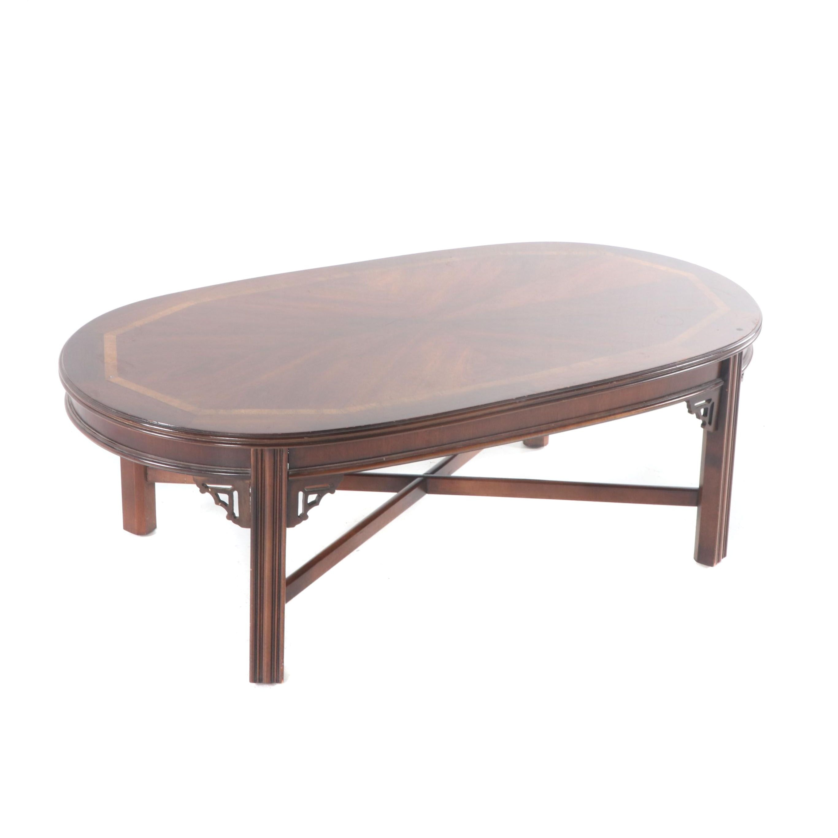 Chinese Chippendale Style Mahogany Veneer Coffee Table by Lane, Late 20th C.