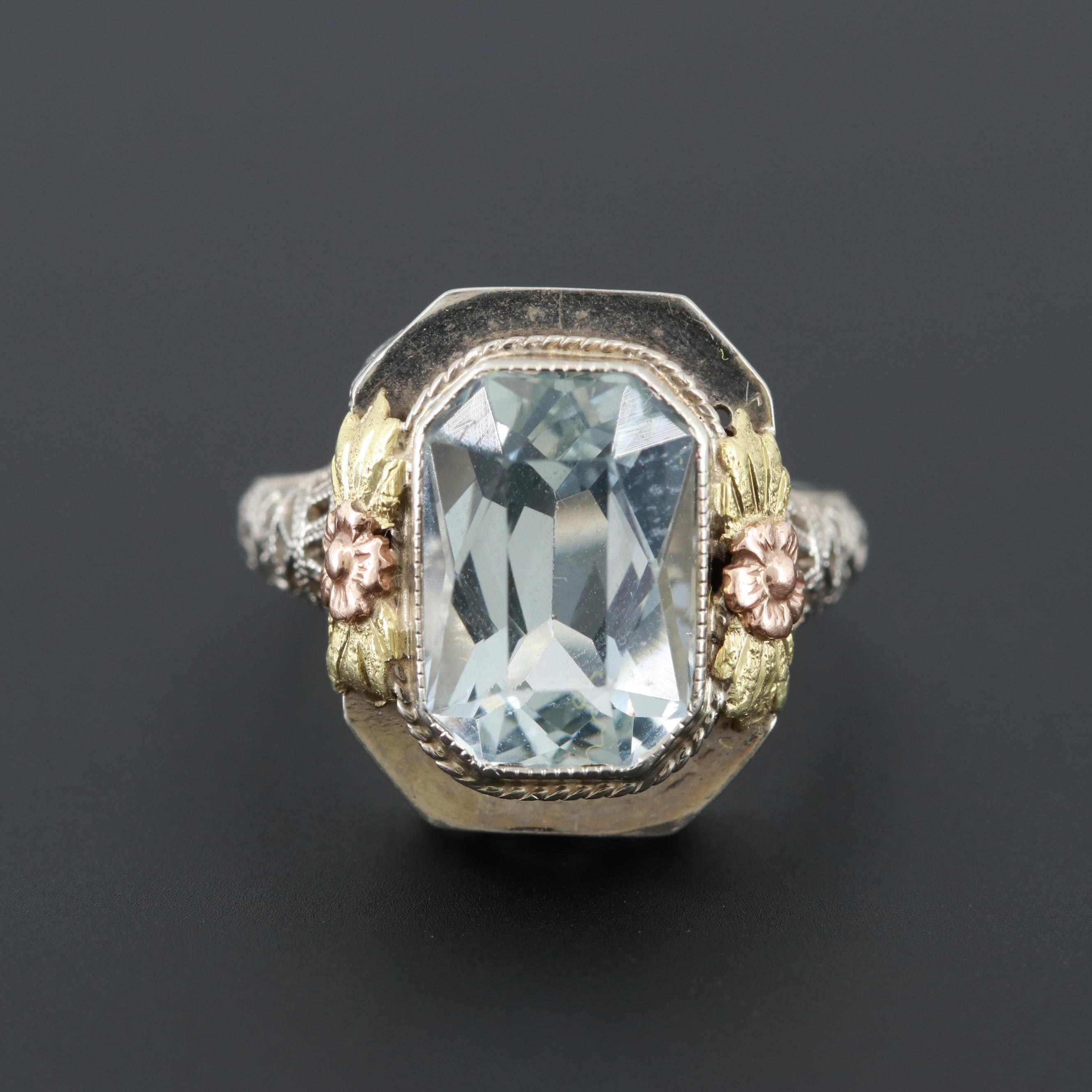 Art Deco 14K White Gold Aquamarine Ring with Rose and Yellow Gold Accents