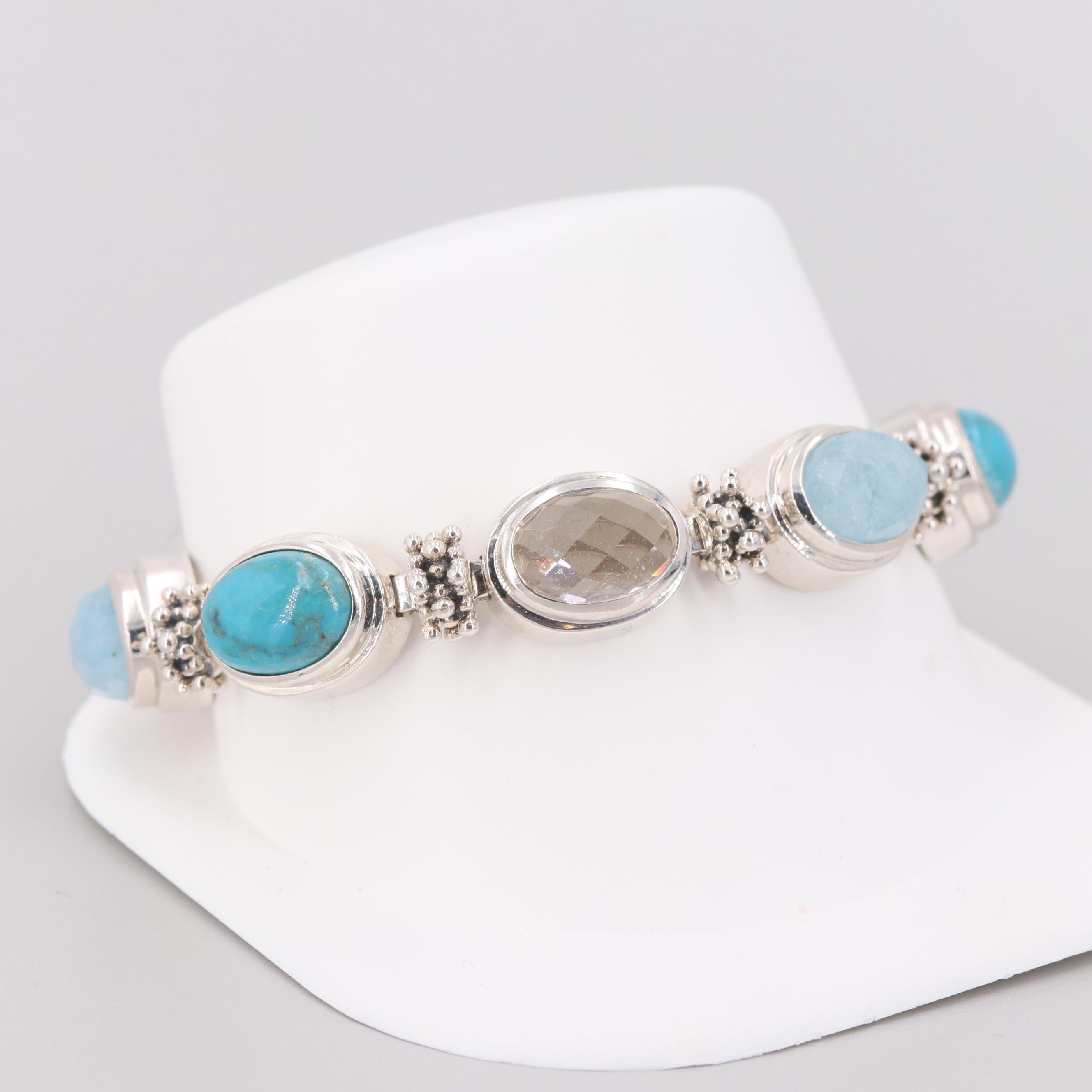 Michael Dawkins Sterling Silver Aquamarine, Turquoise and Quartz Bracelet