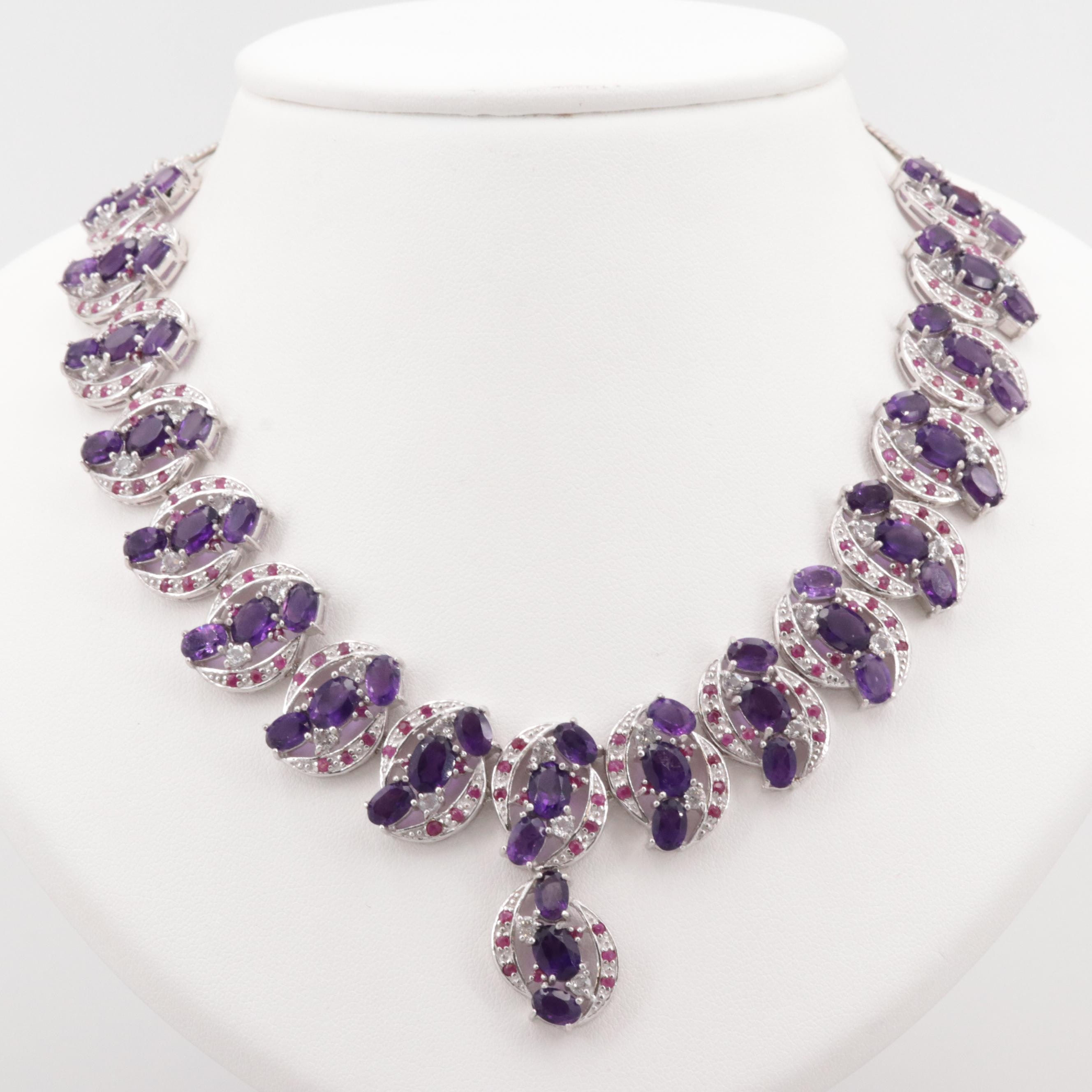 Sterling Silver Amethyst, Ruby, and Topaz Necklace