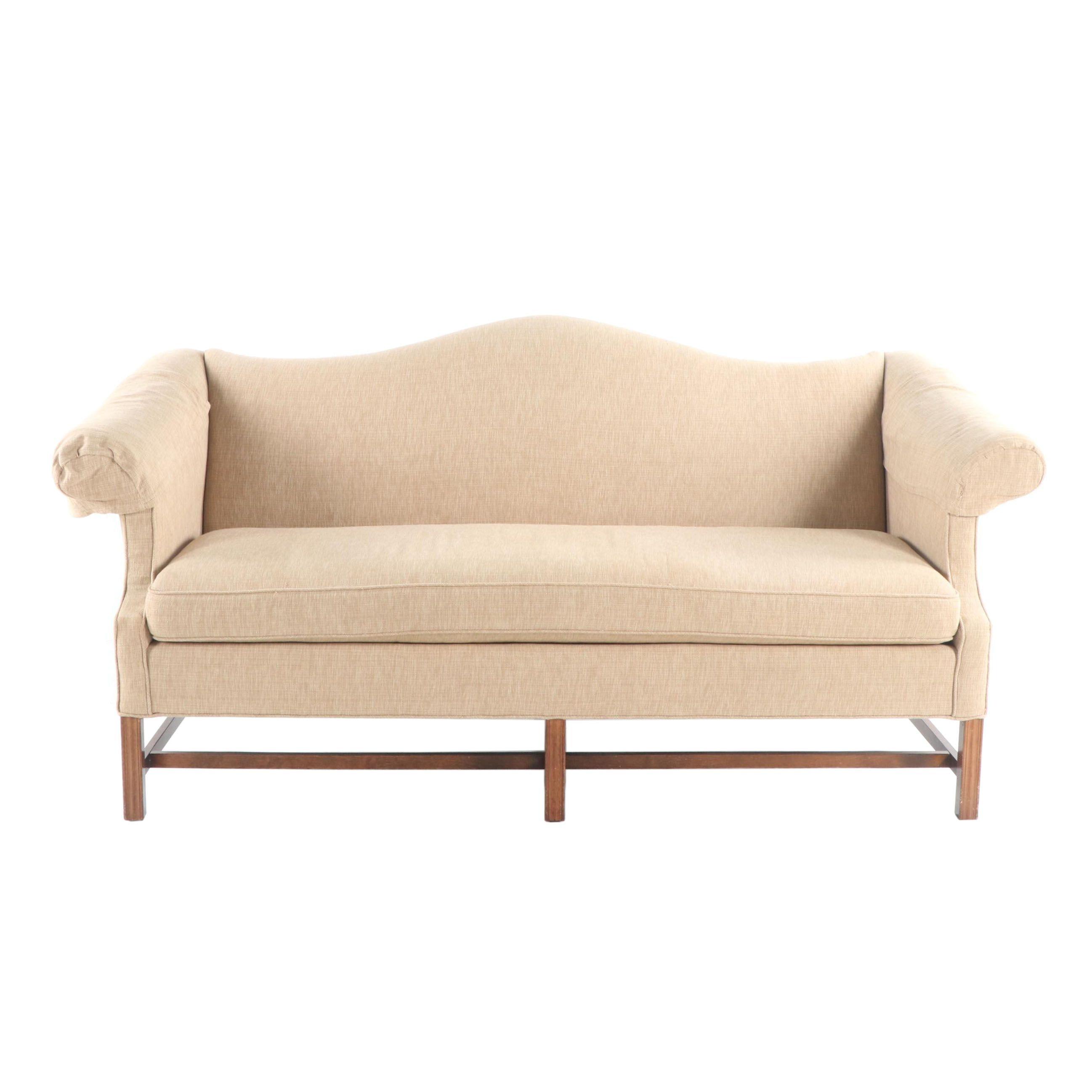 Federal Style Upholstered Camelback Sofa, 21st Century