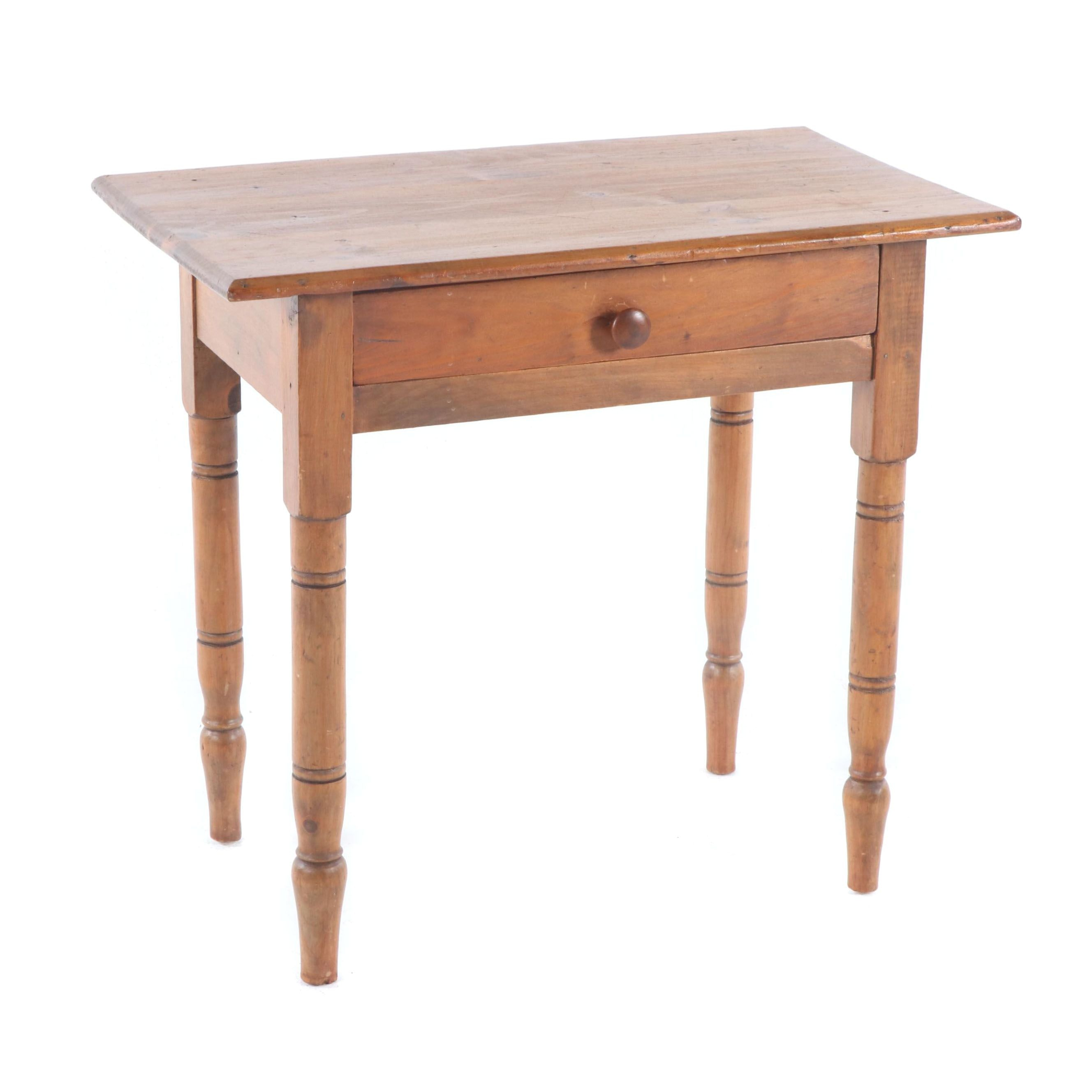 Federal Style Pine Side Table with Drawer, Late 19th Century