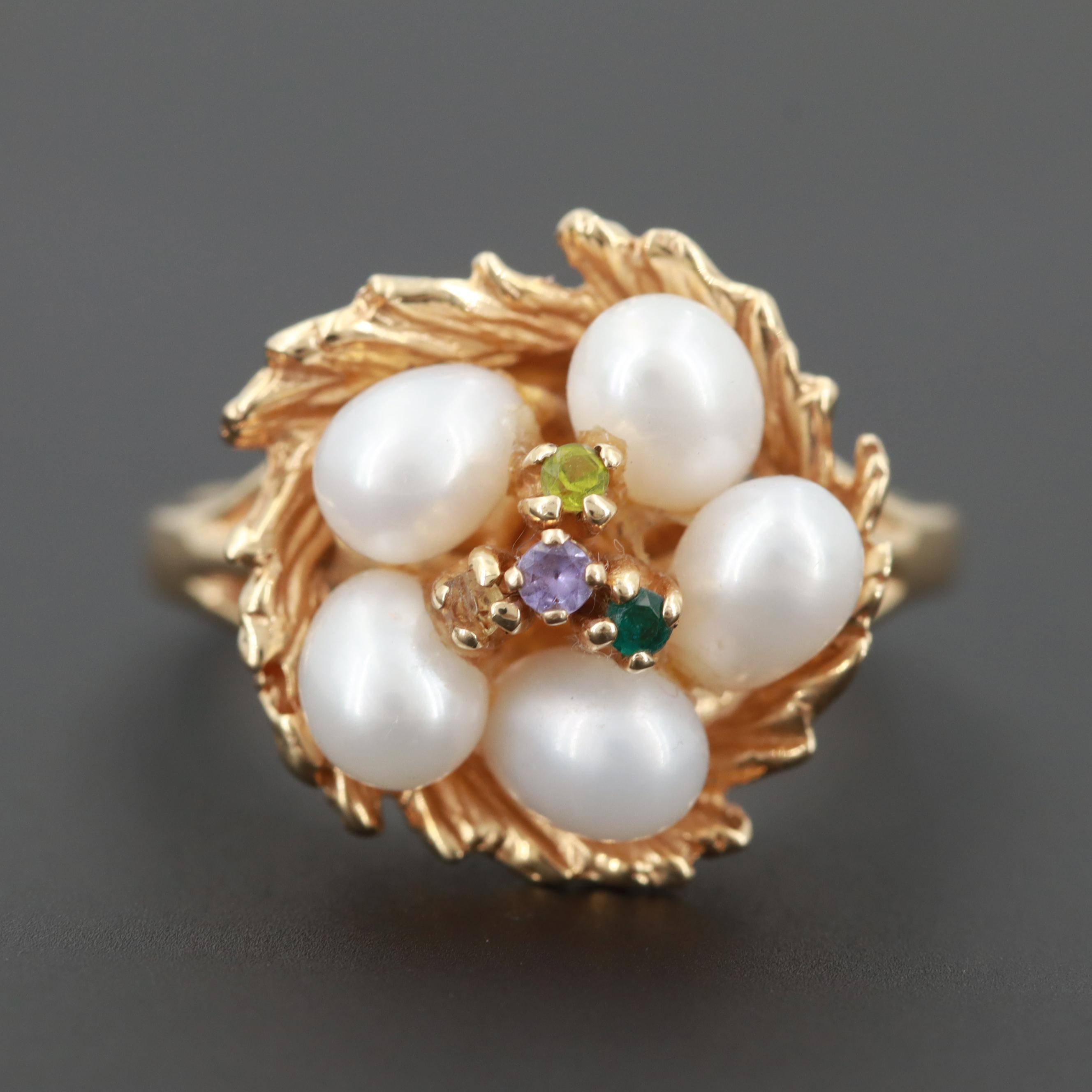 14K Yellow Gold Cultured Pearl Ring with Emerald, Citrine, Amethyst and Peridot