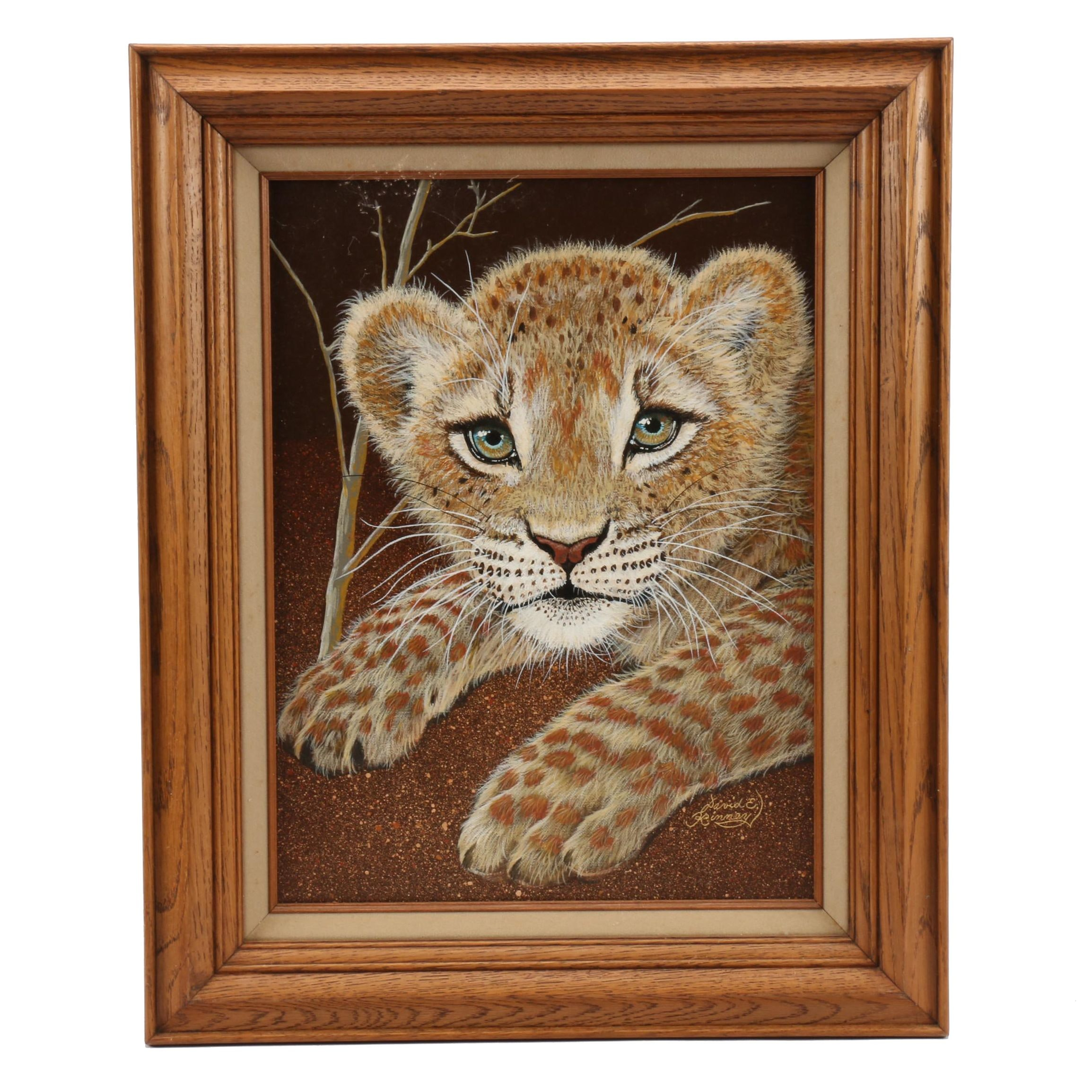 "David E. Kinney Oil Painting ""African Lion Cub (3 weeks)"""
