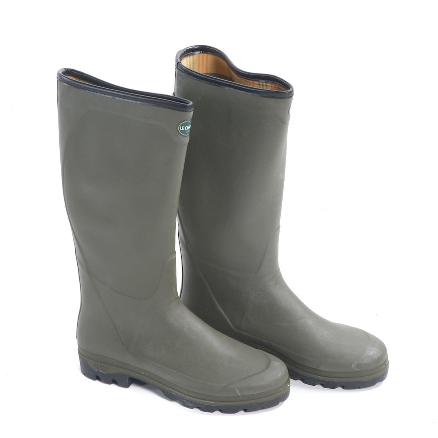 Men s Le Chameau Country XL Vert Olive Jersey Lined Rubber Rain Boots   EBTH 6fa63cee9ee