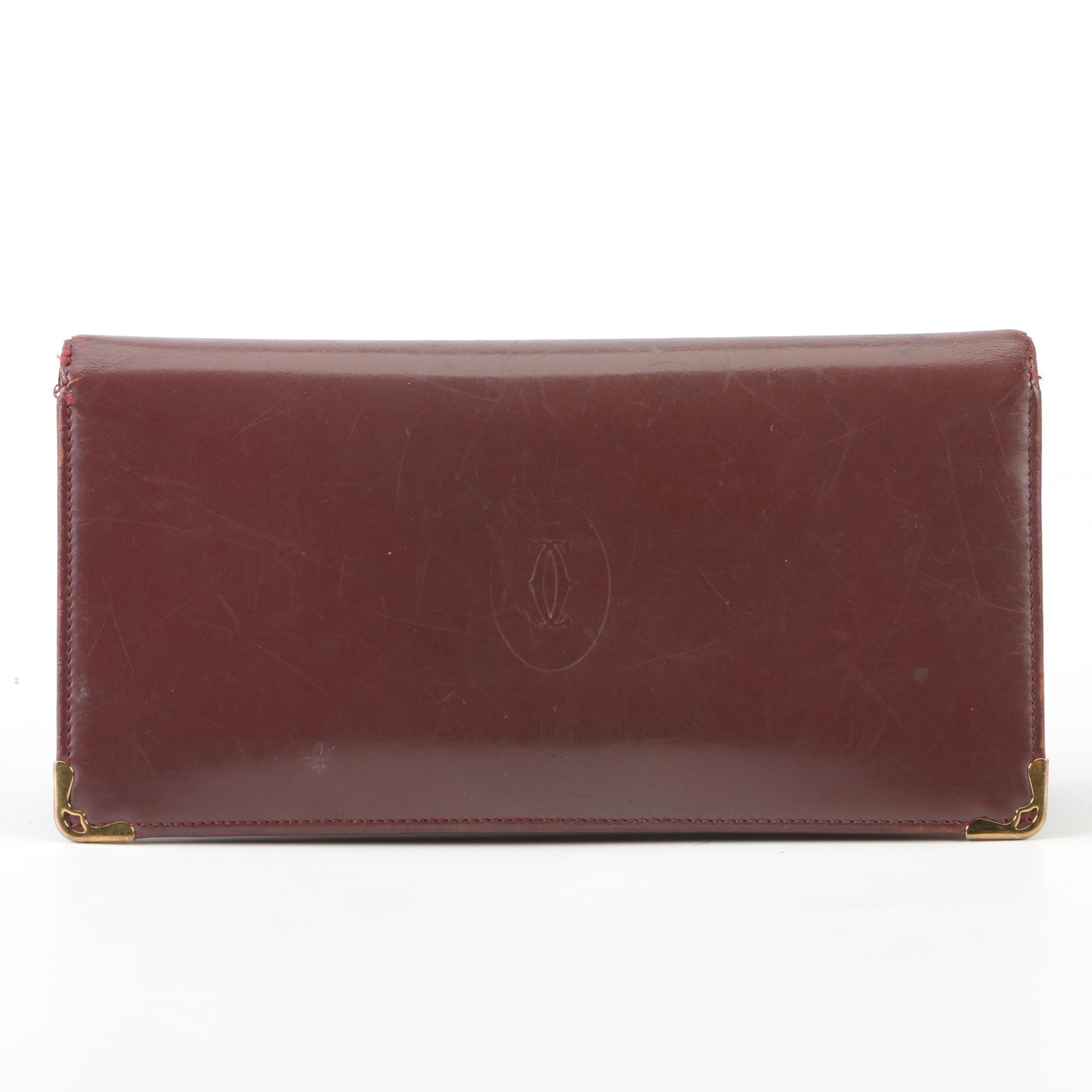 Cartier Paris Burgundy Box Calf Leather Long Wallet with Corner Accents, Vintage