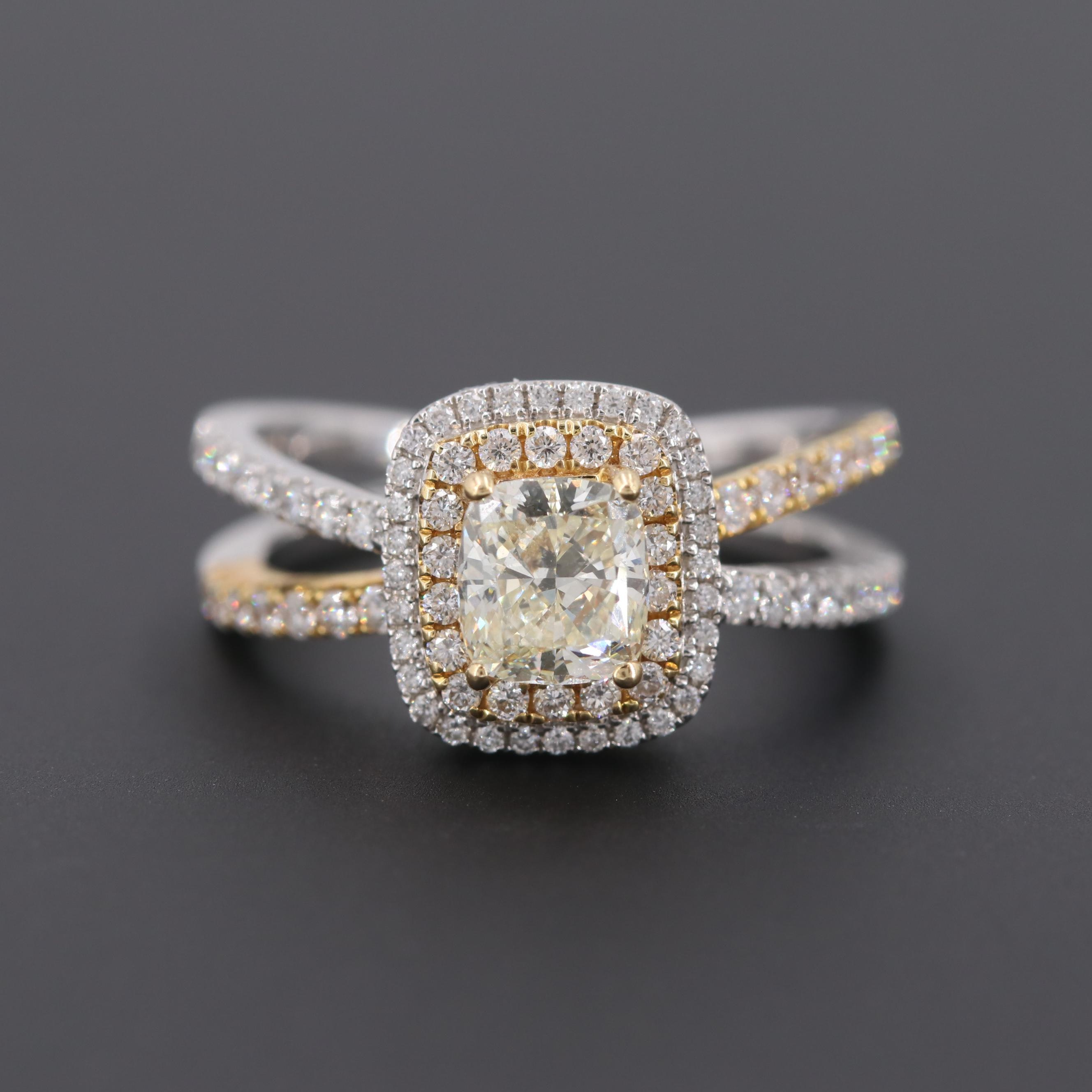 14K White Gold 1.71 CTW  Diamond Ring with 18K Yellow Gold Accents