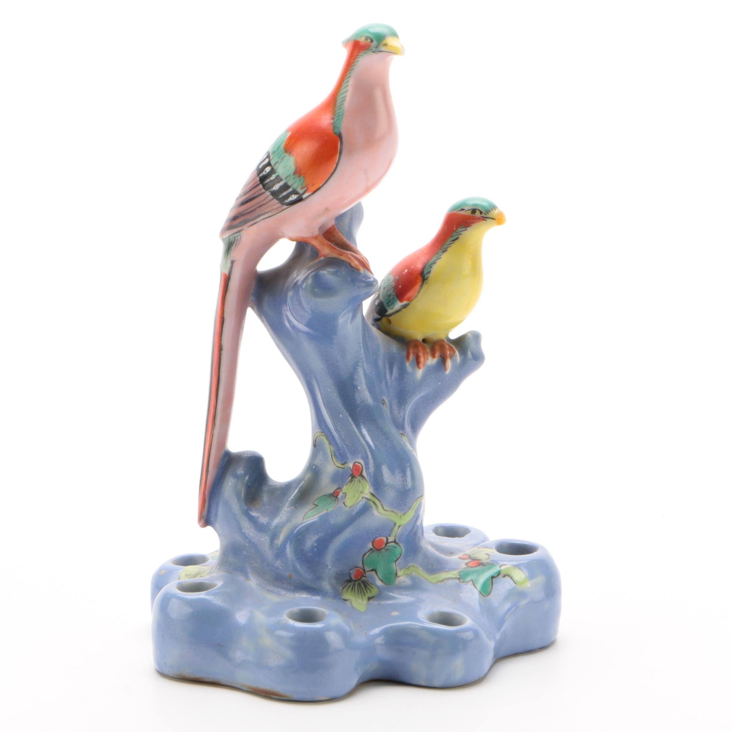 Birds of Paradise Ceramic Flower Frog, Early 20th Century