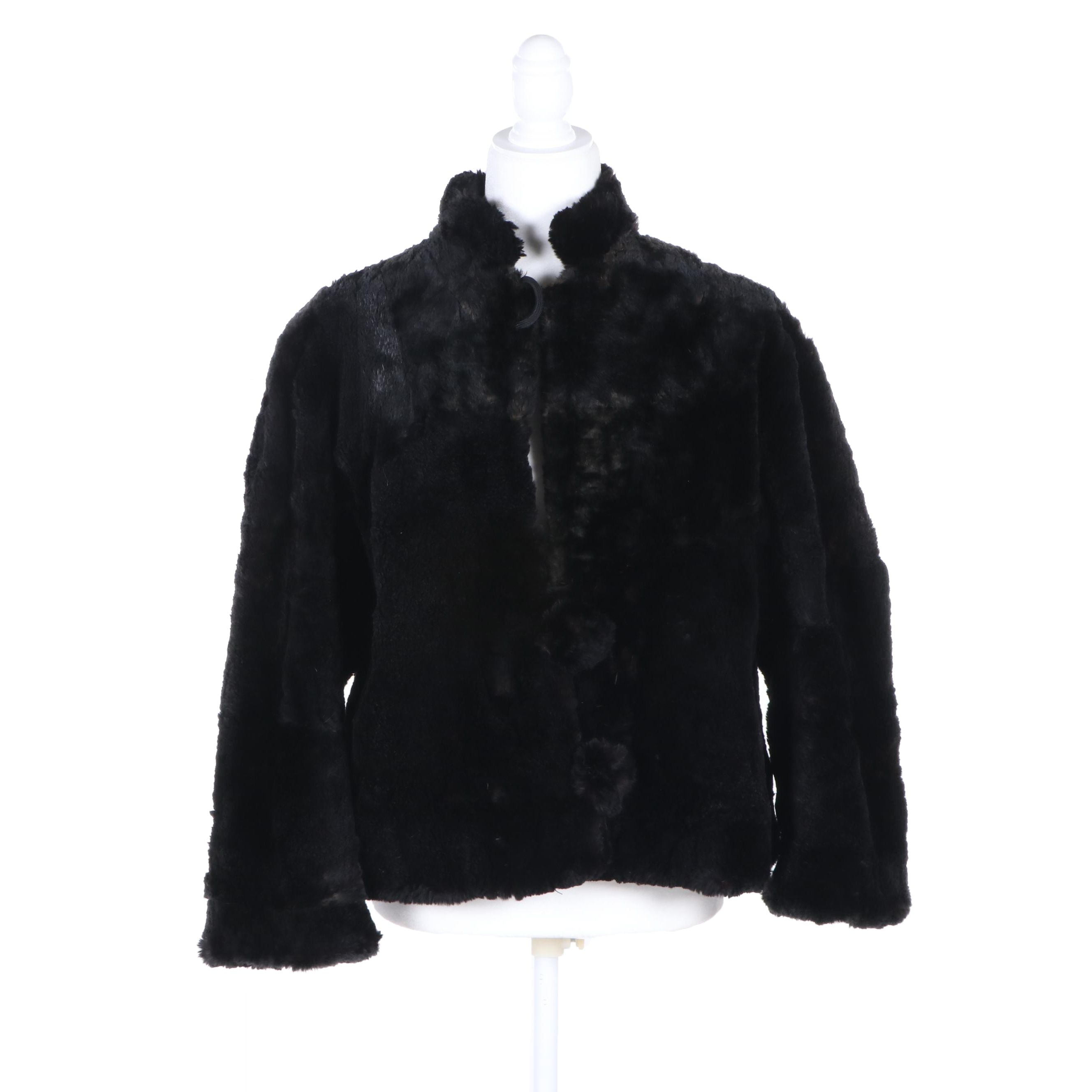 Women's Sheared Dyed Black Beaver Fur Jacket, Vintage