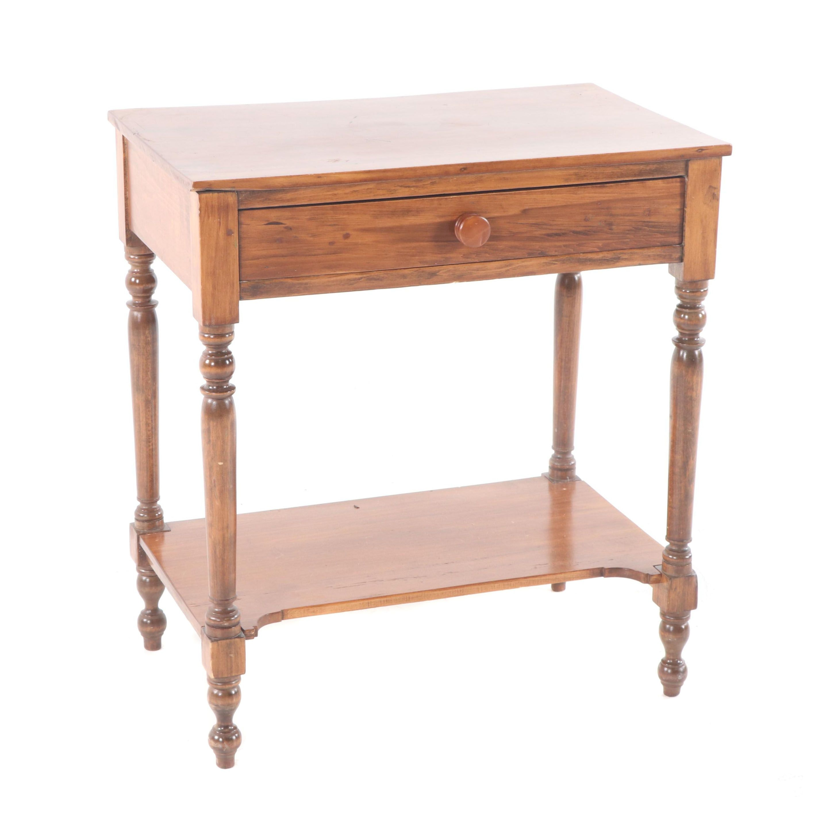 Federal Style Walnut Side Table with Drawer, Mid-20th Century