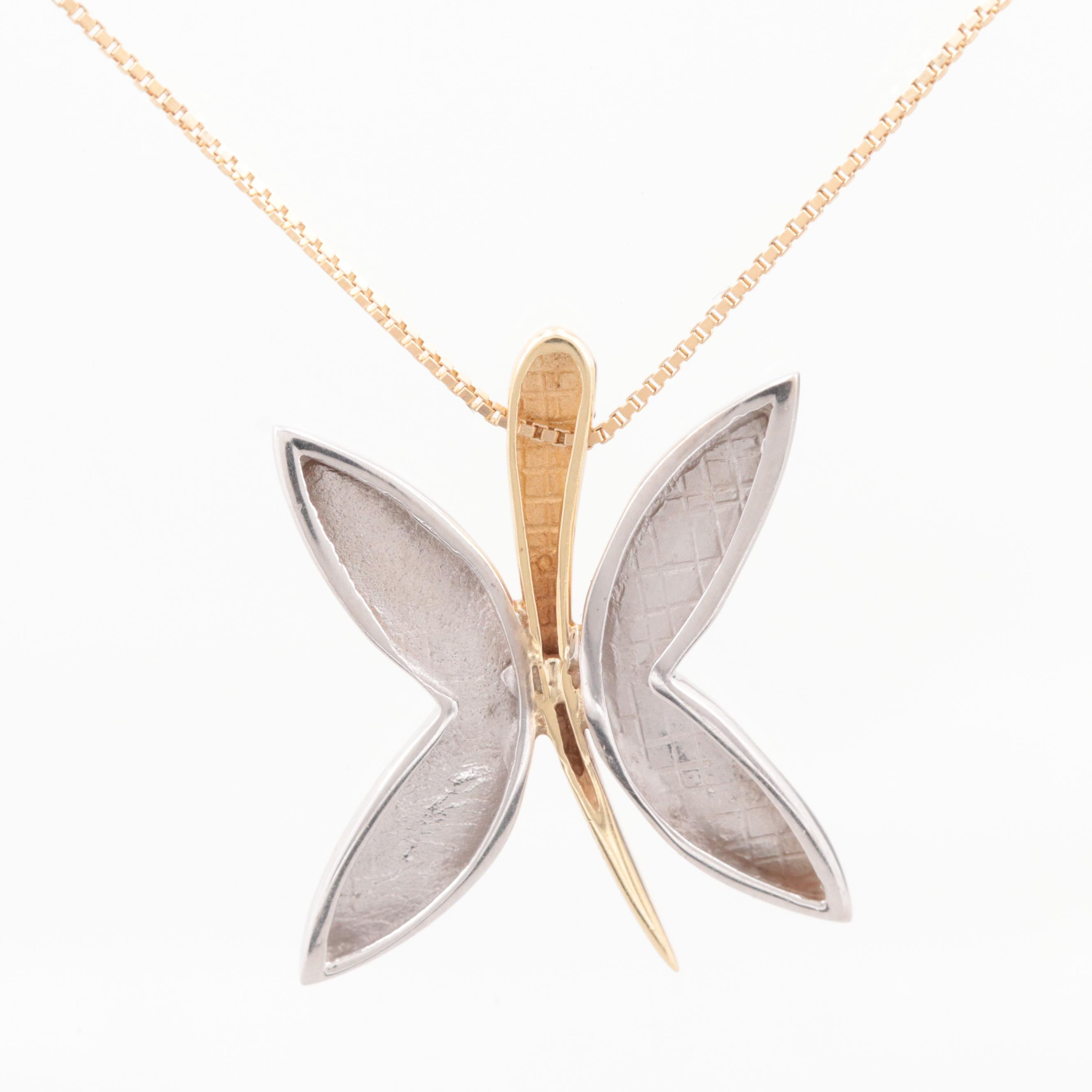 14K White and Yellow Gold Butterfly Pendant Necklace